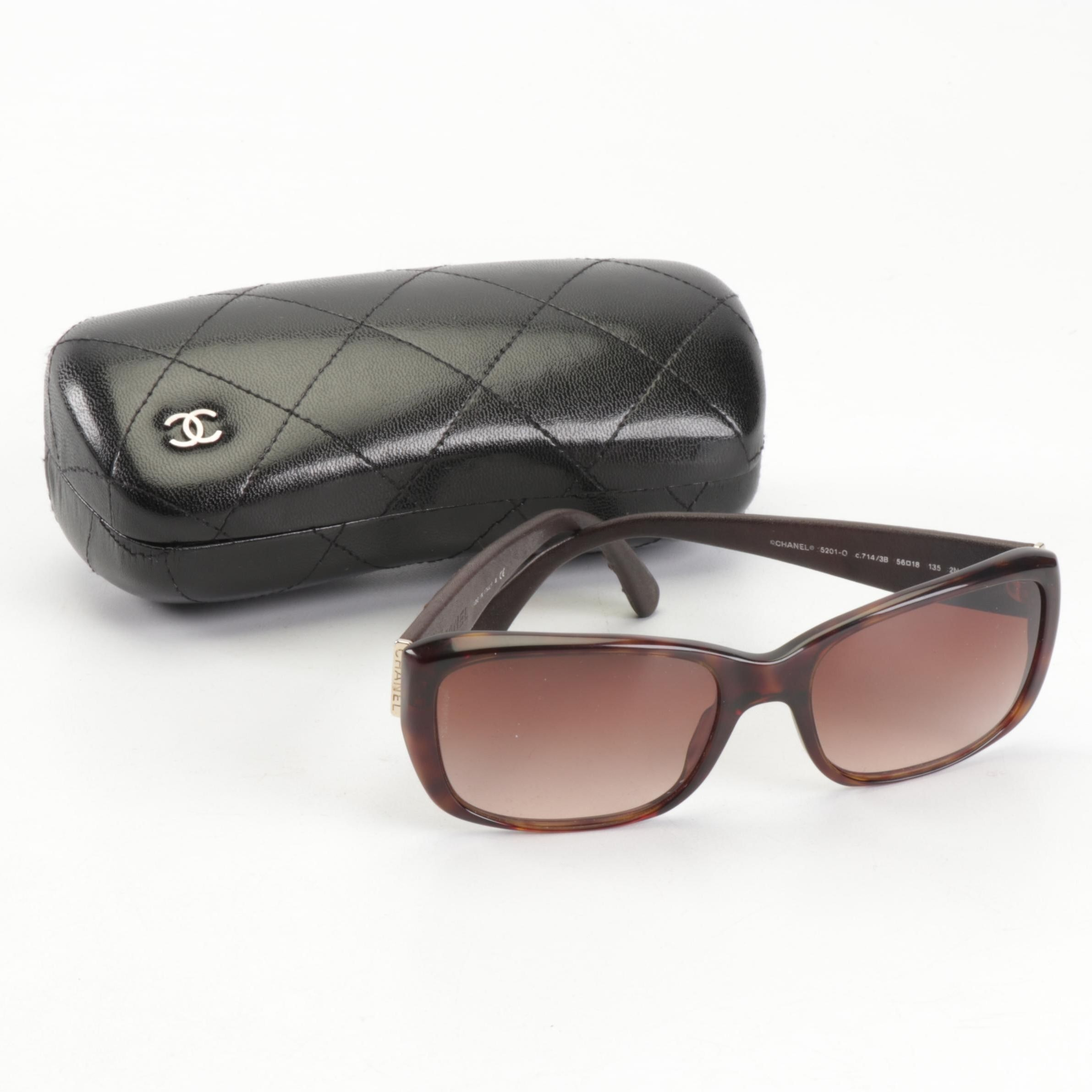 Chanel Quilted 5201-Q Gradient Sunglasses with Leather Case