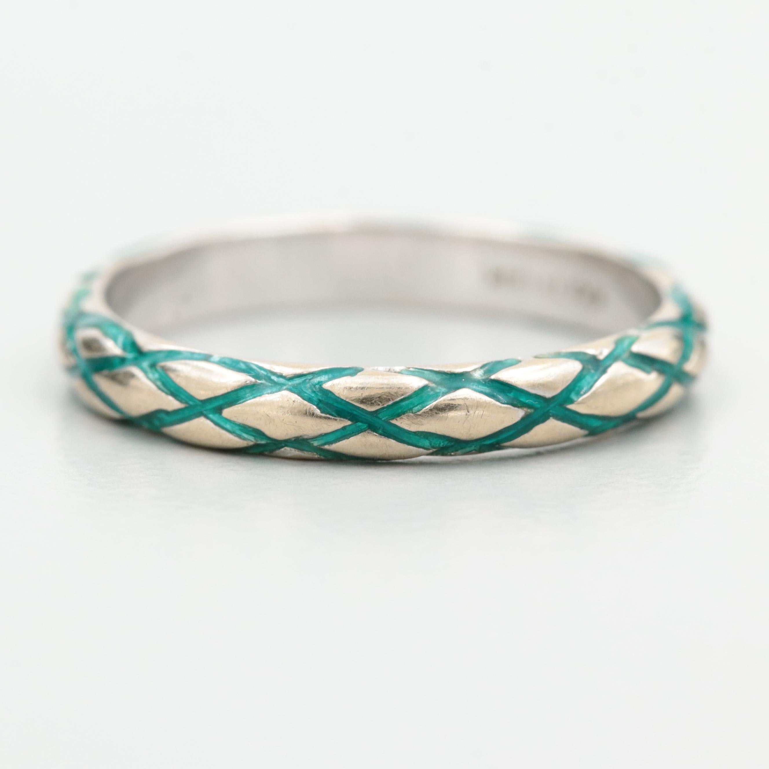 Hidalgo 18K White Gold Band with Enamel Accents