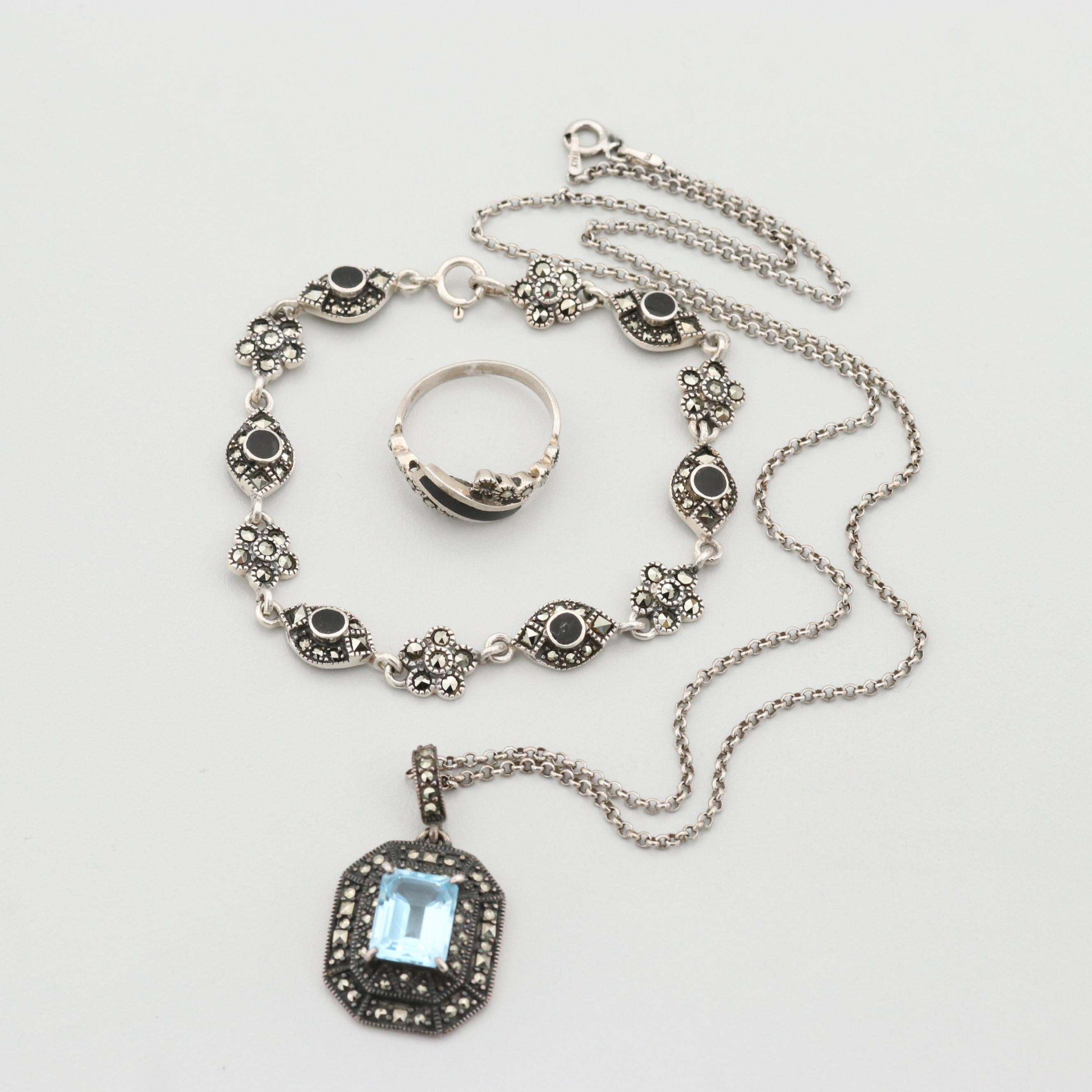 Sterling Silver Blue Topaz, Black Onyx and Marcasite Jewelry Assortment
