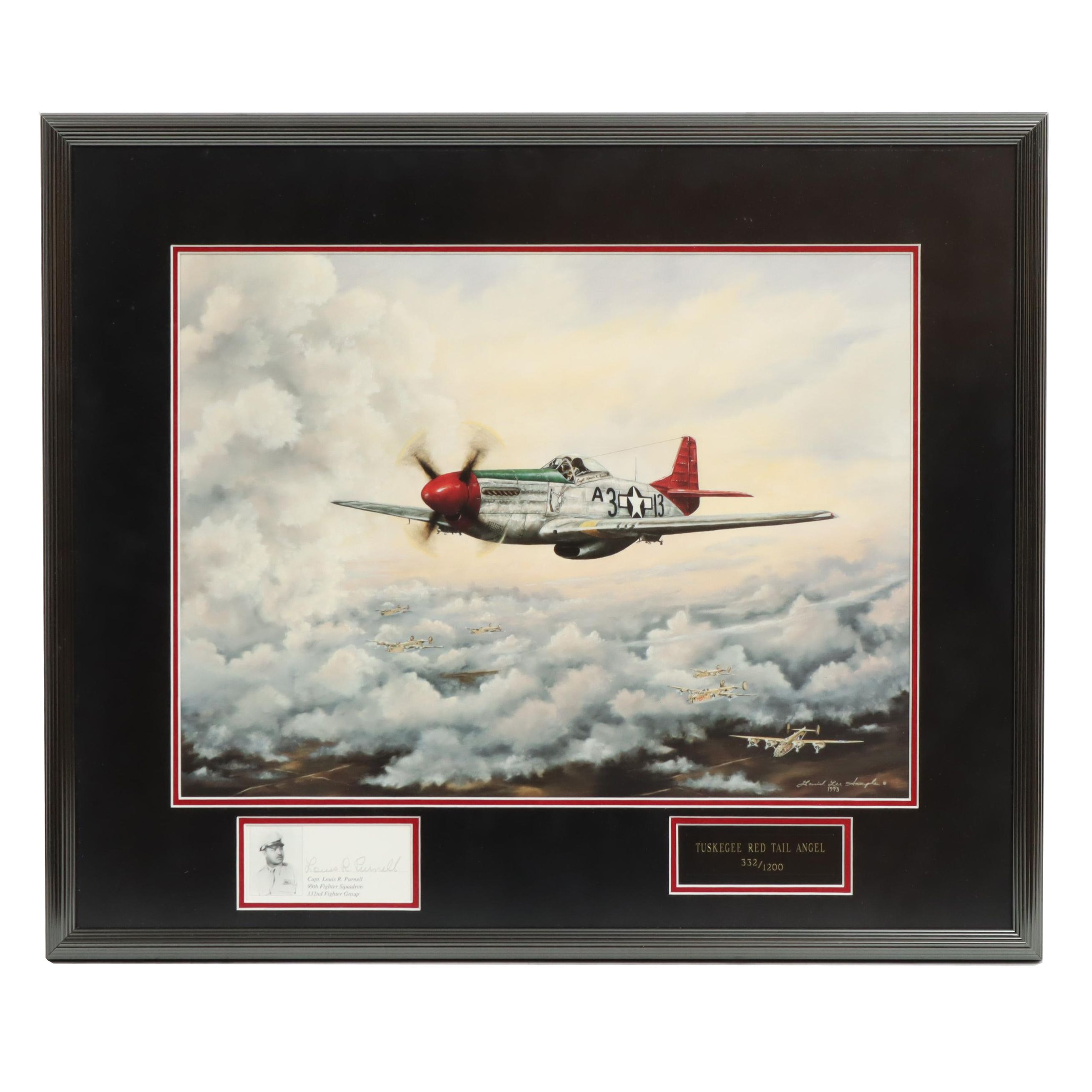 """David Lee Sample Giclee """"Red Tail Angel"""" Signed by Pilot Louis Purnell"""
