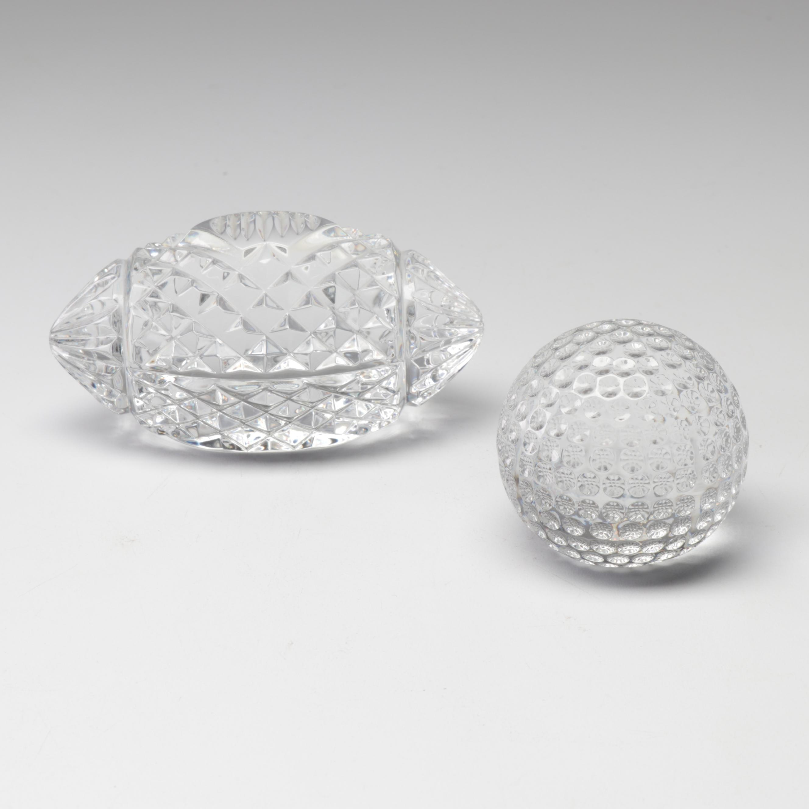 Waterford Crystal Football and Golf Ball Paperweights
