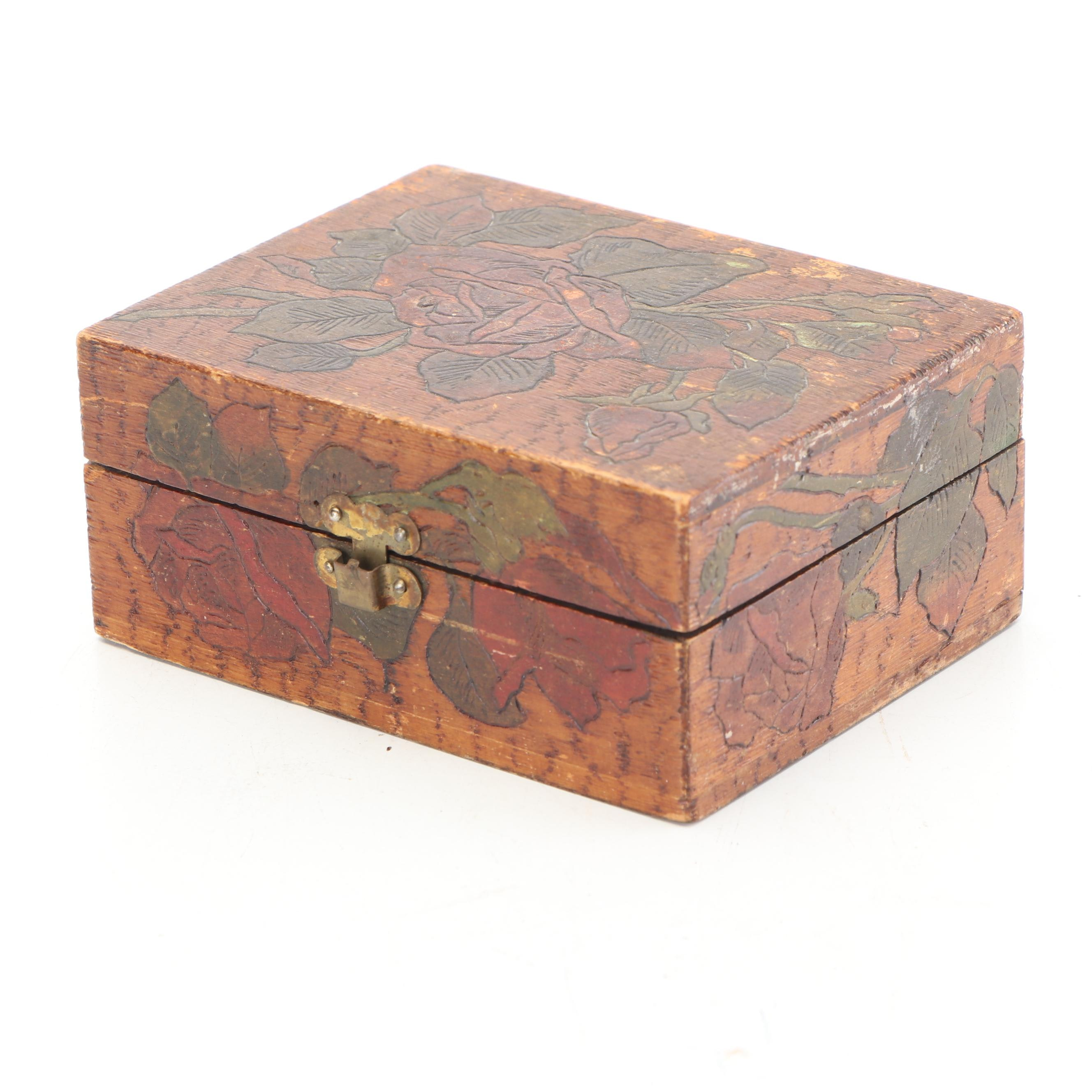 Polychrome Folk Art Wood Storage Box, Early 20th Century