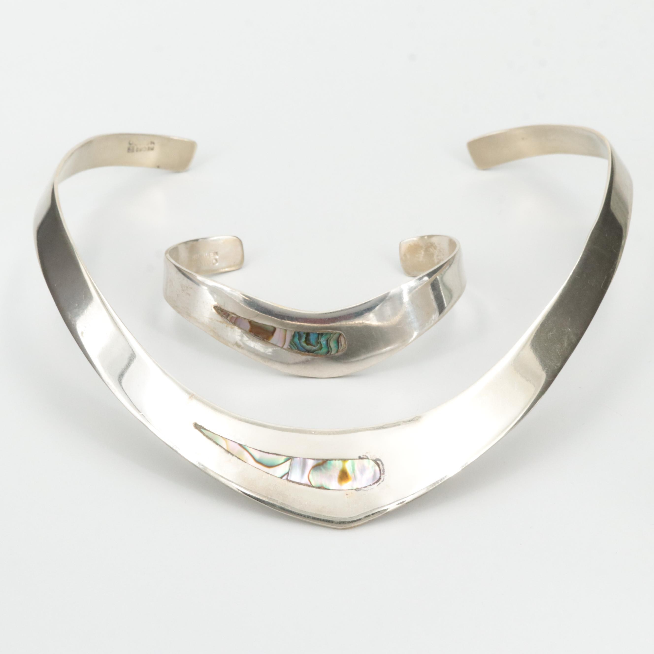Mexican Silver Tone Abalone Necklace and Bracelet Set