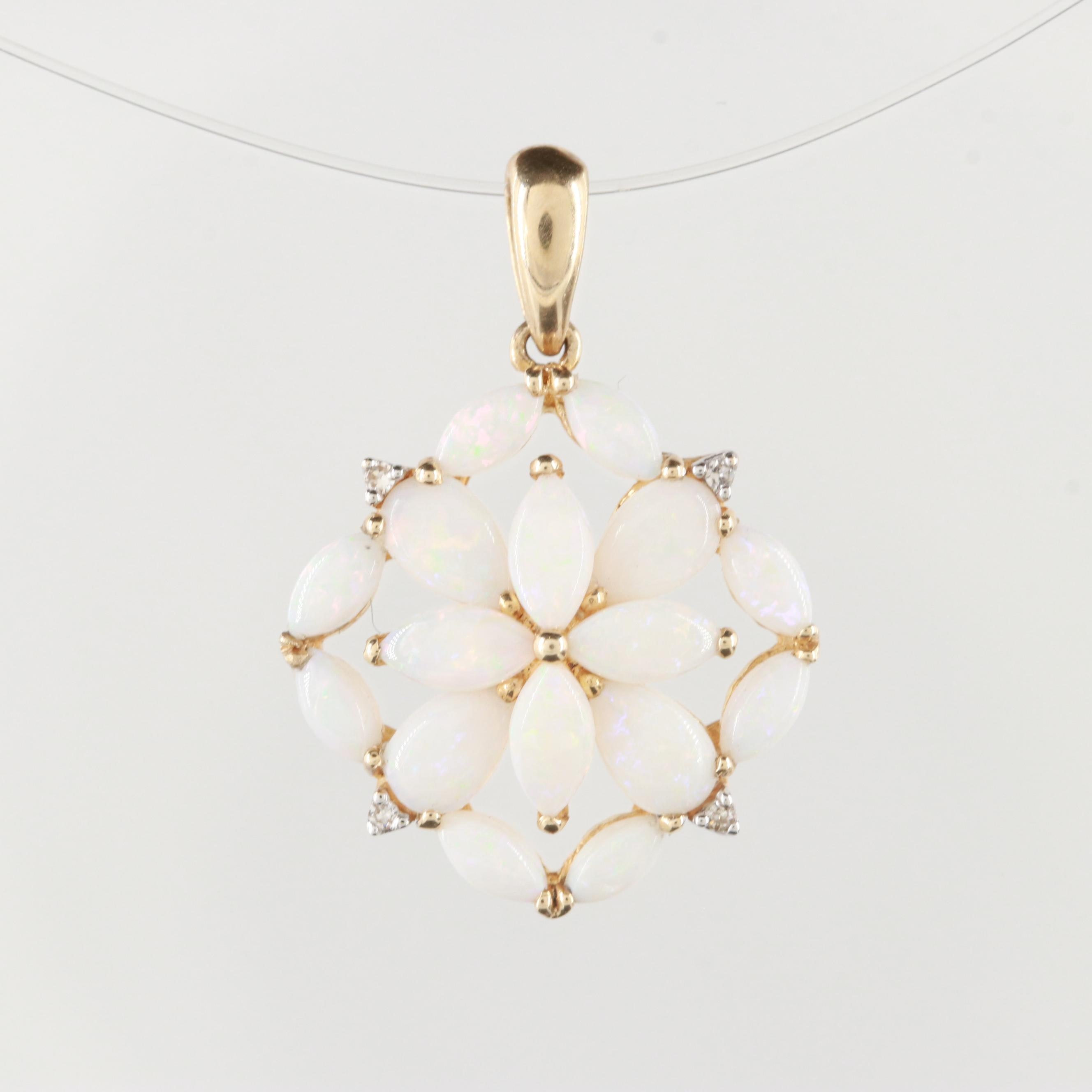 14K Yellow Gold Opal and Diamond Pendant