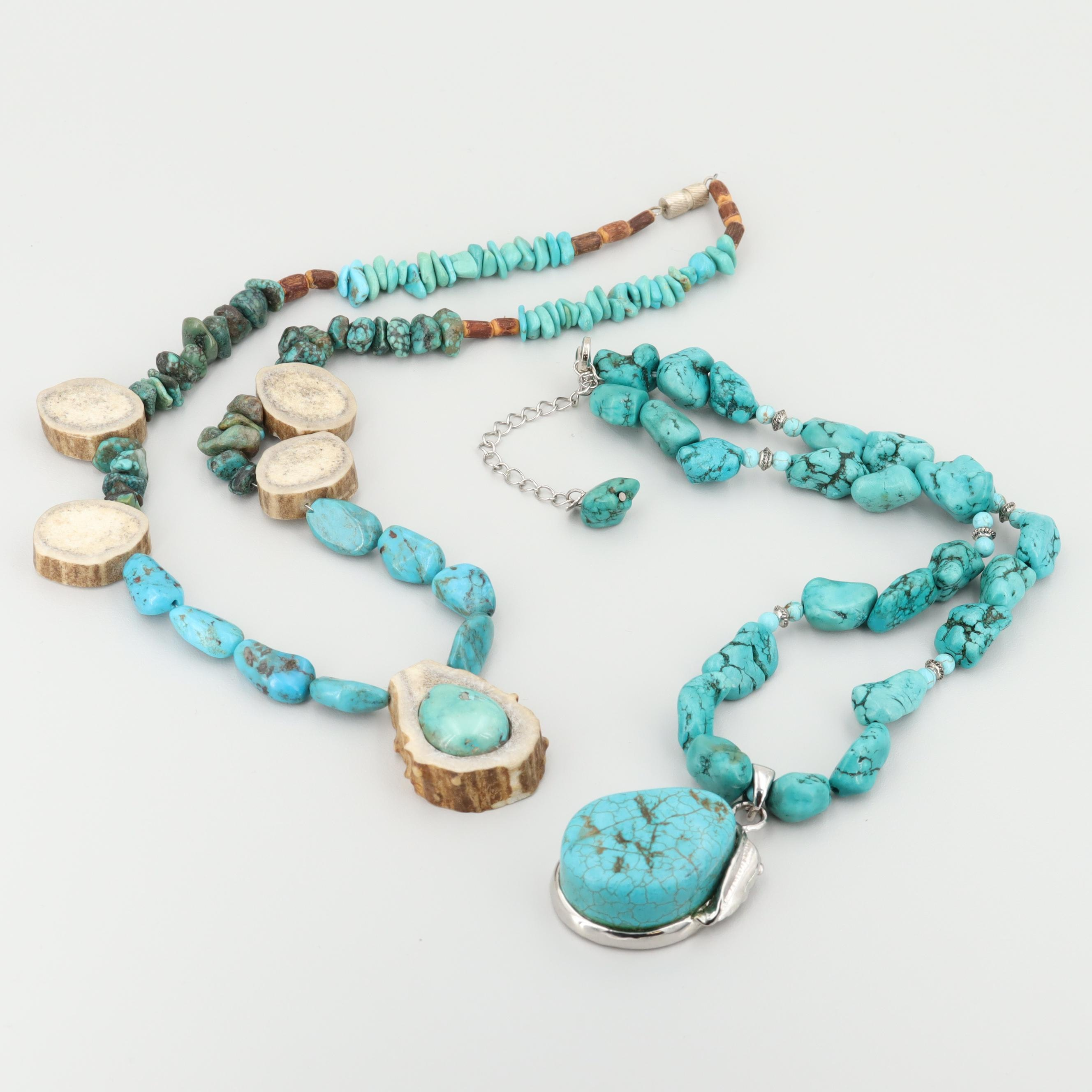 Southwestern Silver Tone Necklace Pairing with Turquoise, Horn and Magnesite