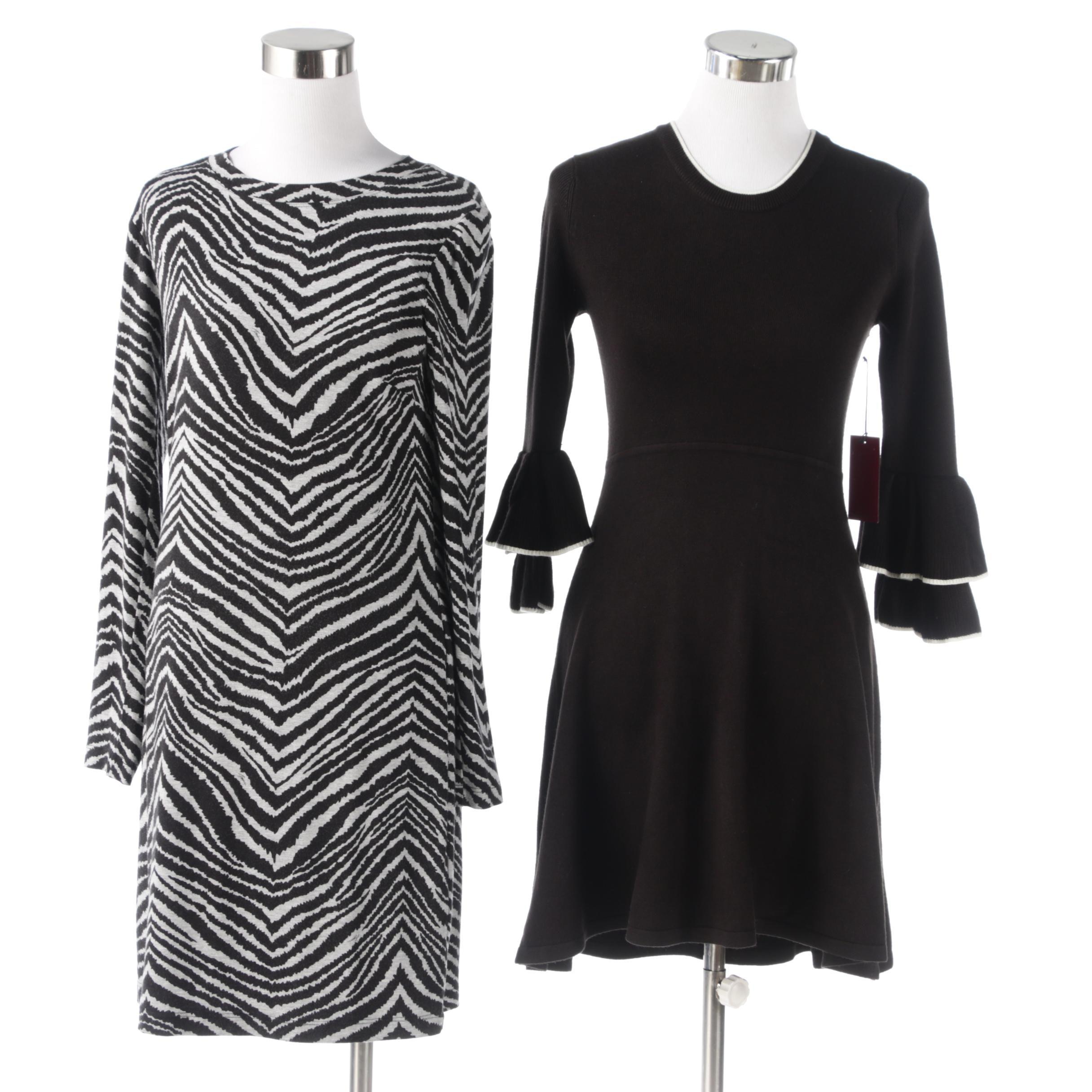 Trina Turk Animal Print Dress with Vince Camuto Ruffle Sleeve Sweater Dress
