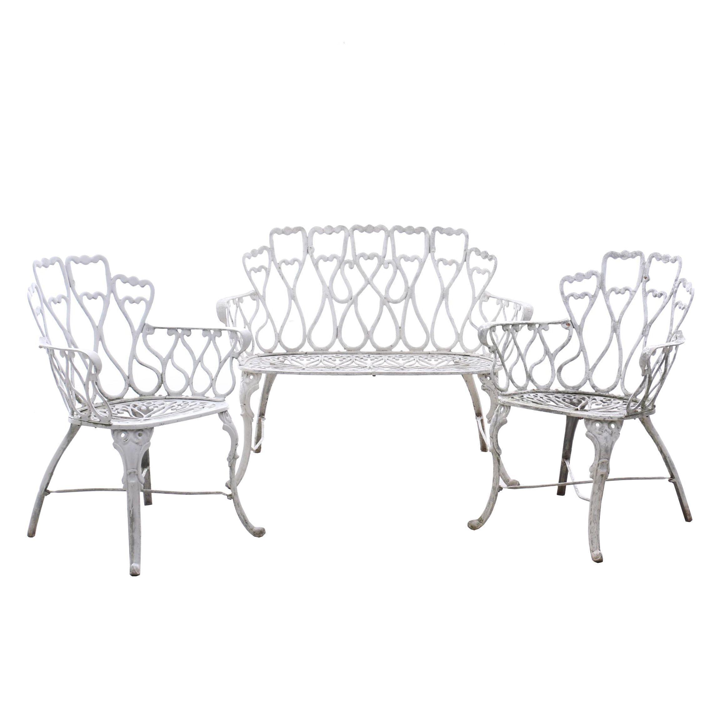 Three Piece Cast Aluminum Patio Set in White