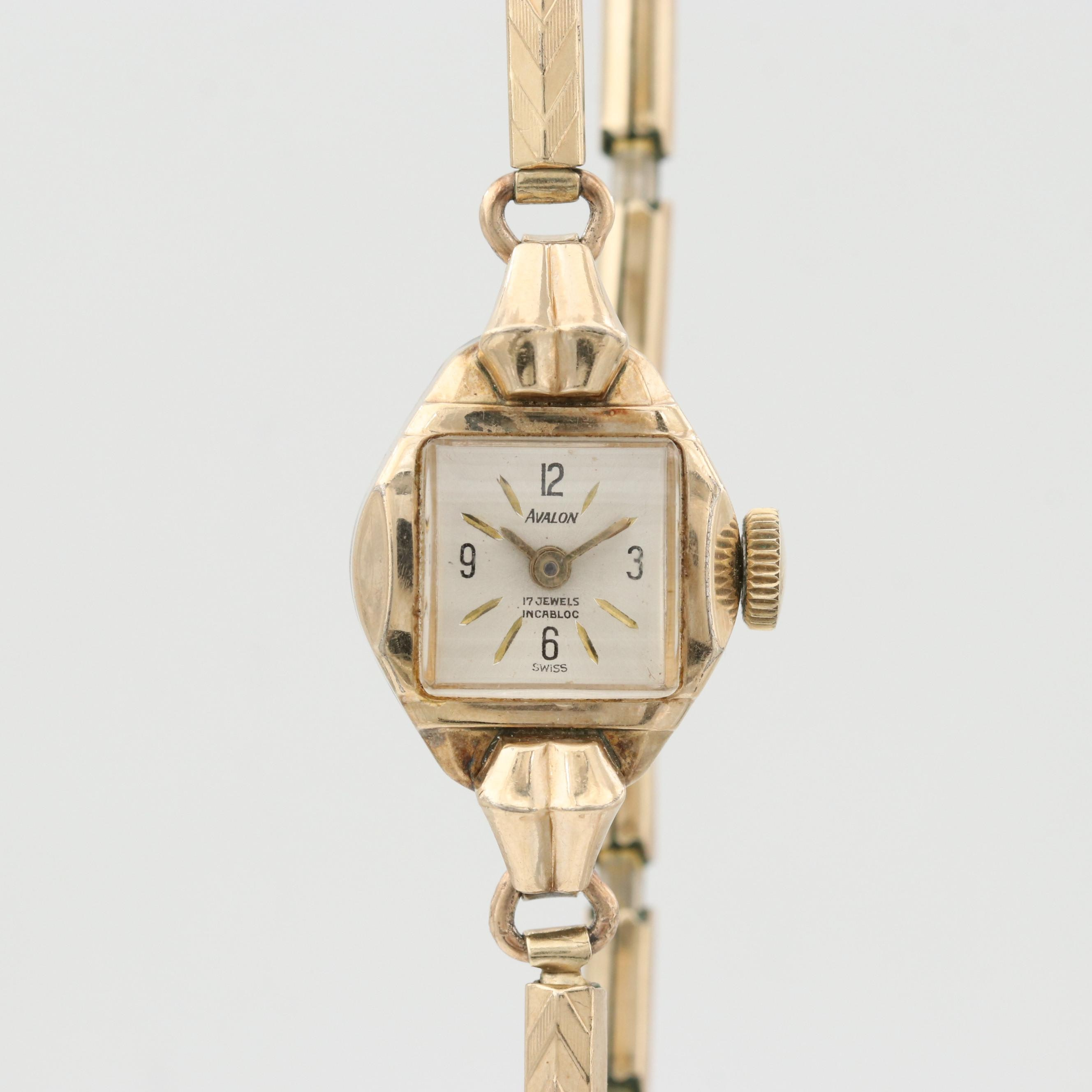 Vintage Avalon Gold Tone Stem Wind Wristwatch