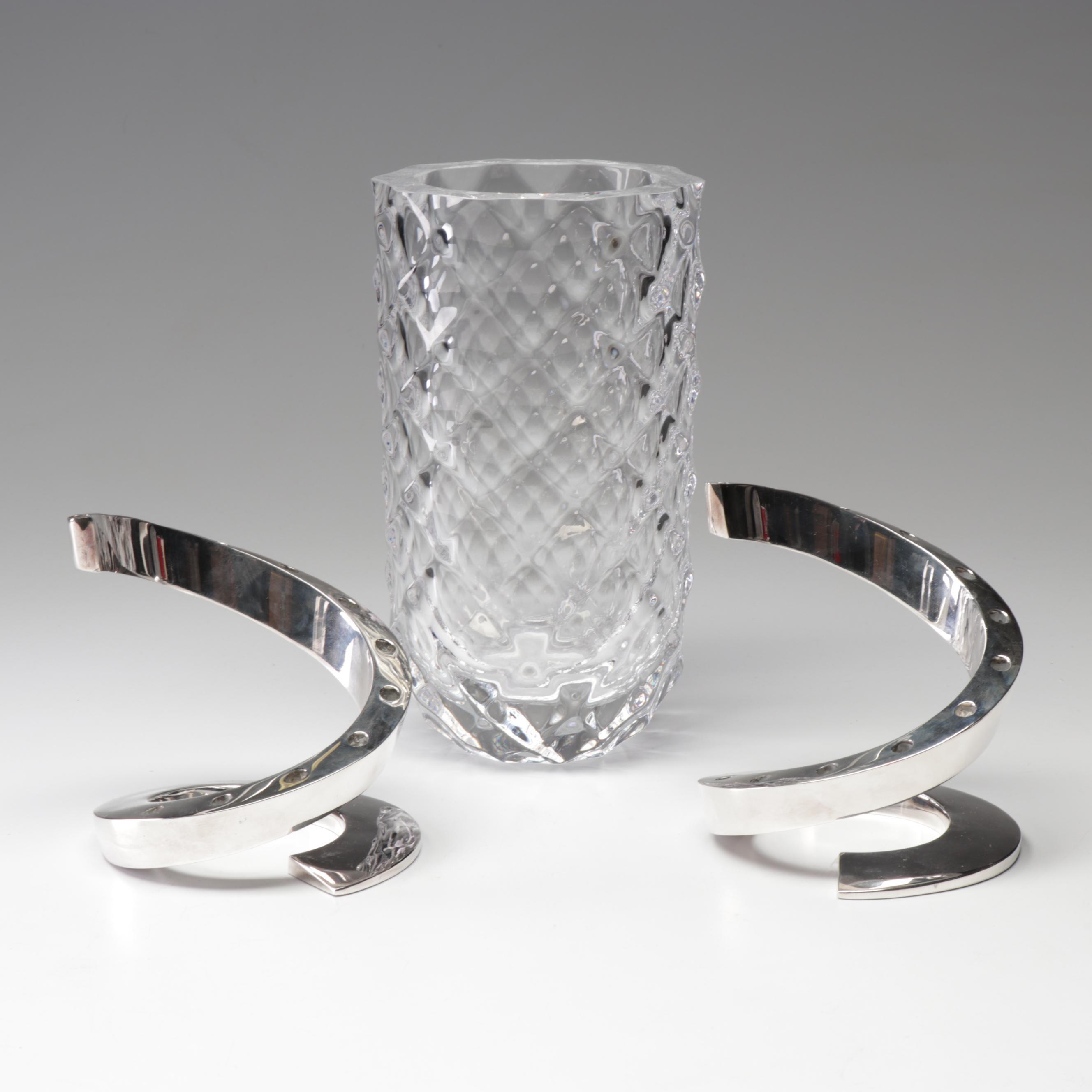 """Offefors Crystal 70's """"Haga"""" Vase & Dansk 60's Bertil Vallien Candleholders"""