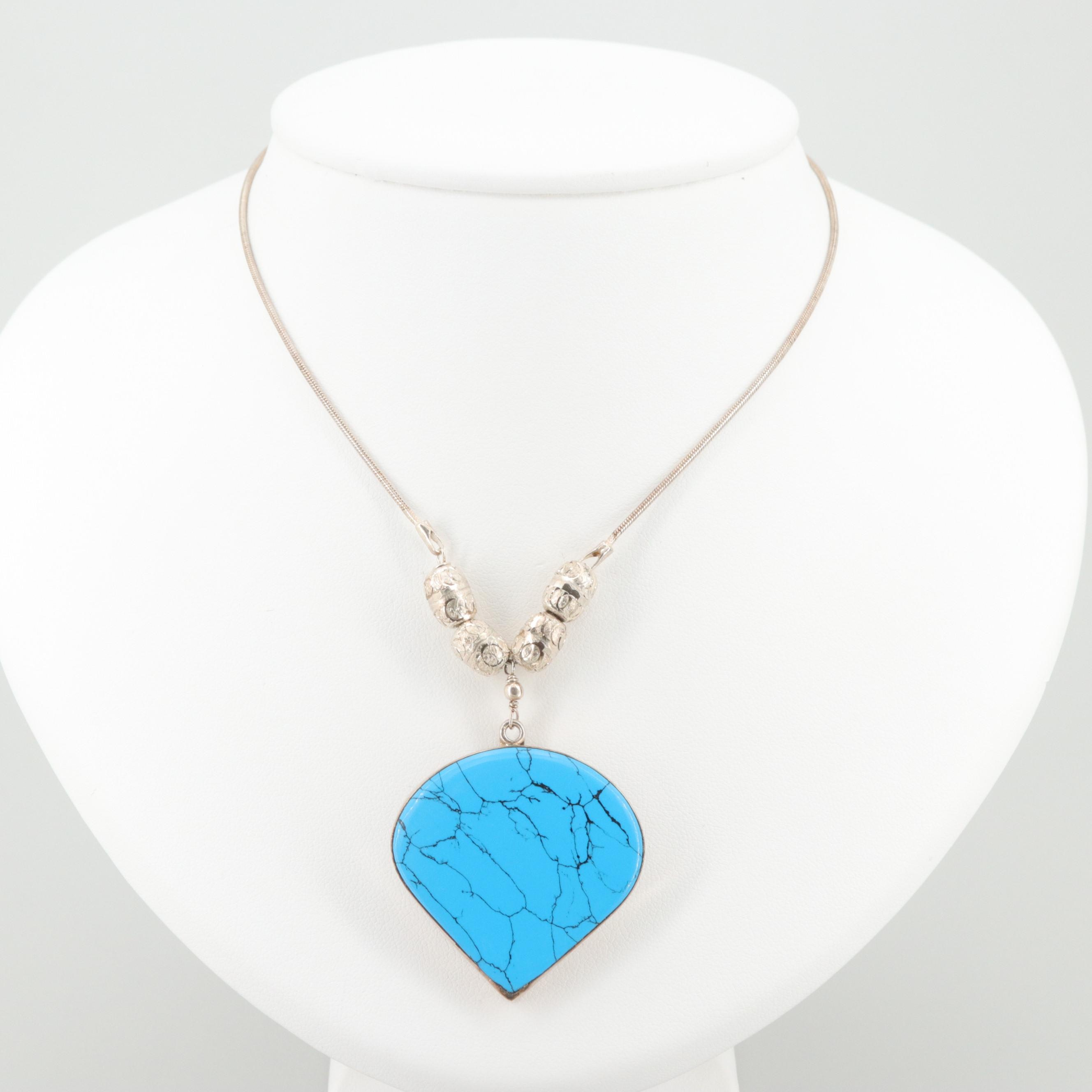 Sterling Silver Imitation Turquoise Necklace