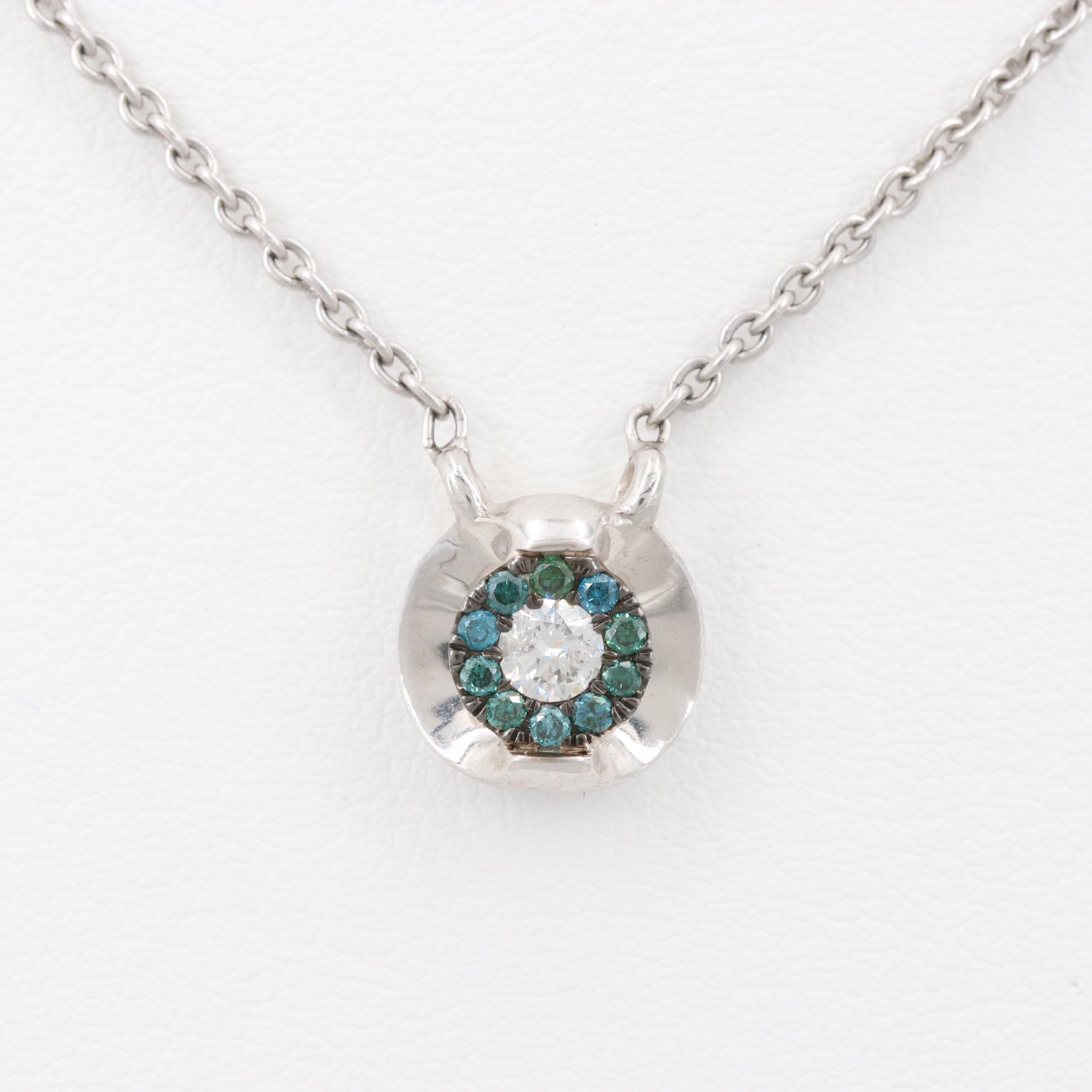 14K and 18K White Gold Diamond Pendant Necklace