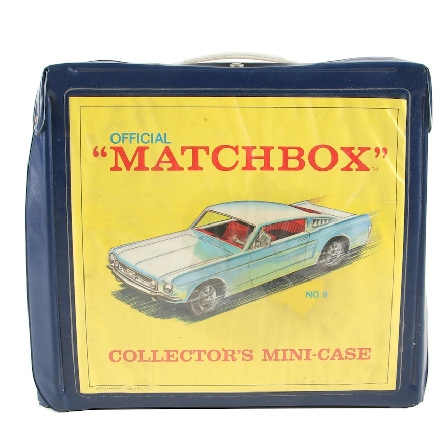 """Die-Cast """"Matchbox"""" Cars and Collector's Case"""
