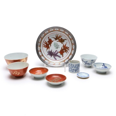 Japanese Porcelain Hand-Painted Bowl with Chinese Porcelain Serveware