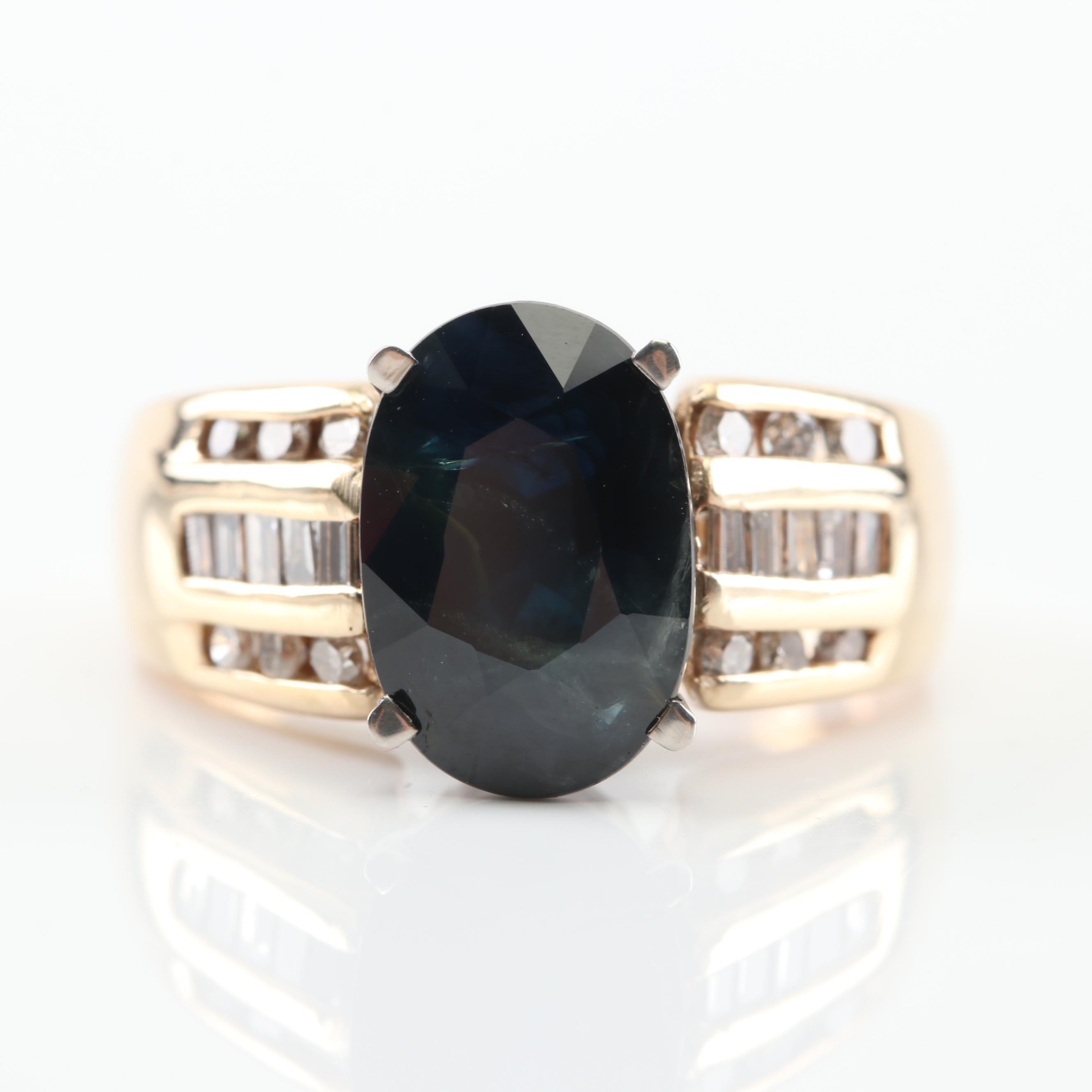 14K Yellow Gold 3.75 CT Sapphire and Diamond Ring