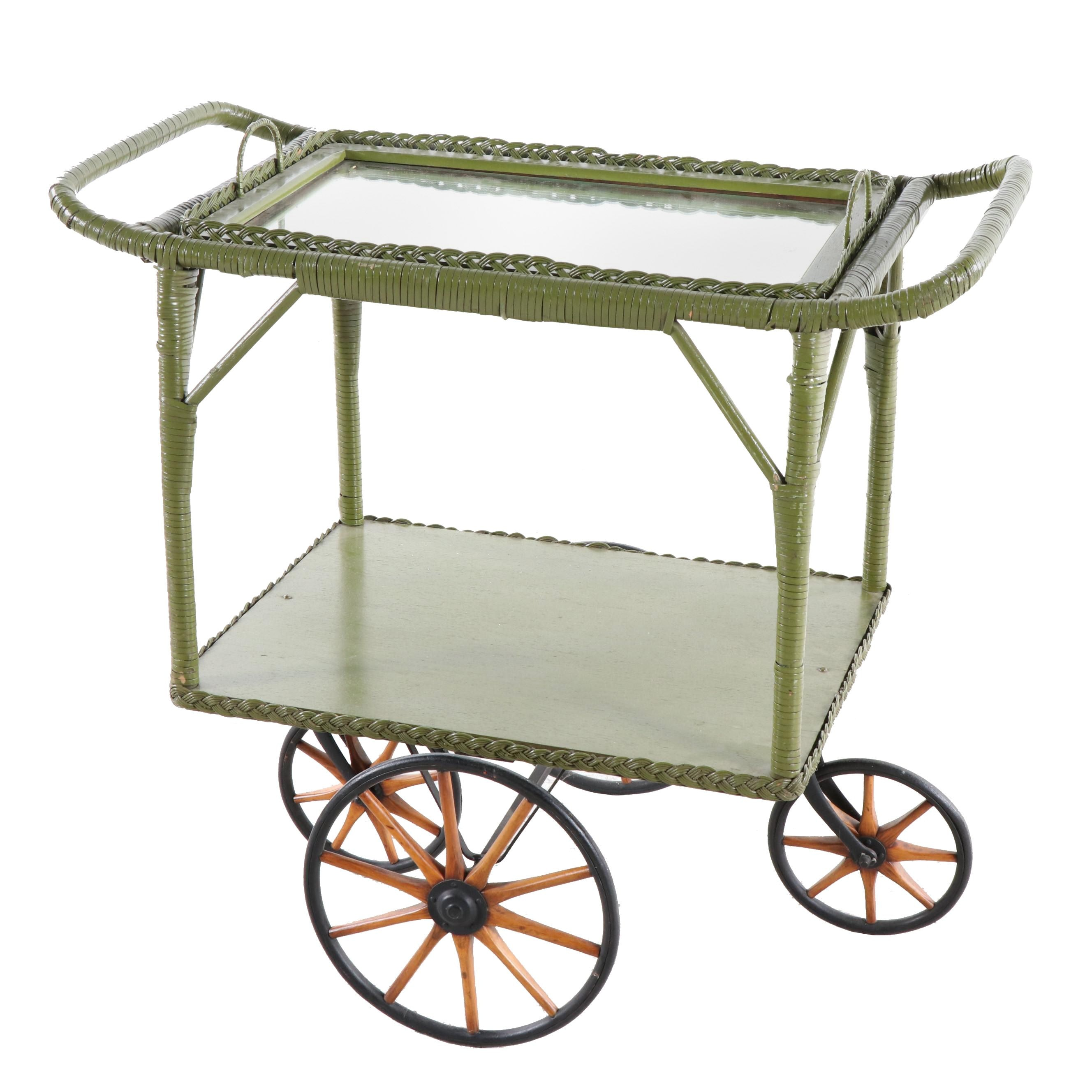 Painted Wicker and Wooden Bar Cart, Mid-20th Century