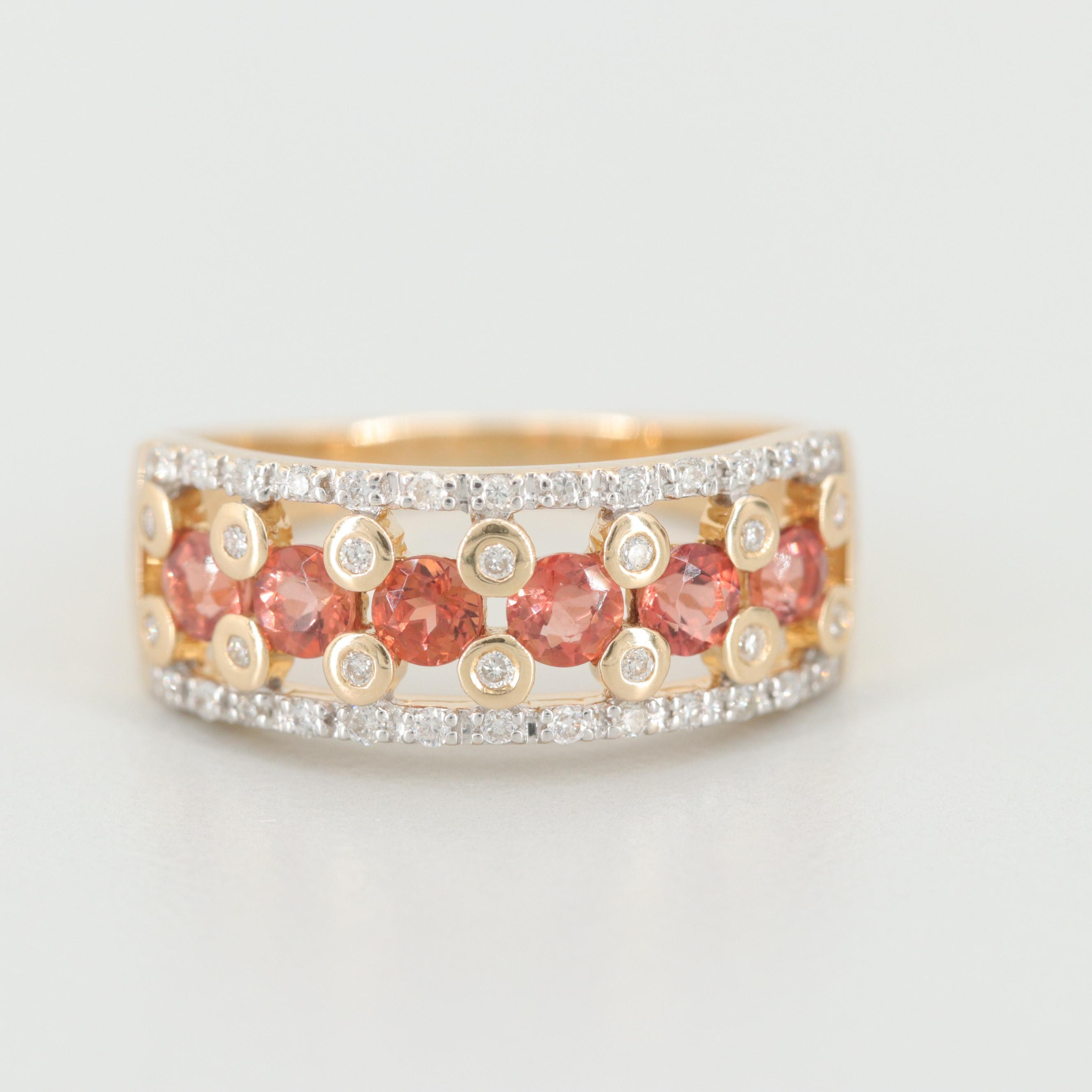 14K Yellow Gold Andesine and Diamond Ring