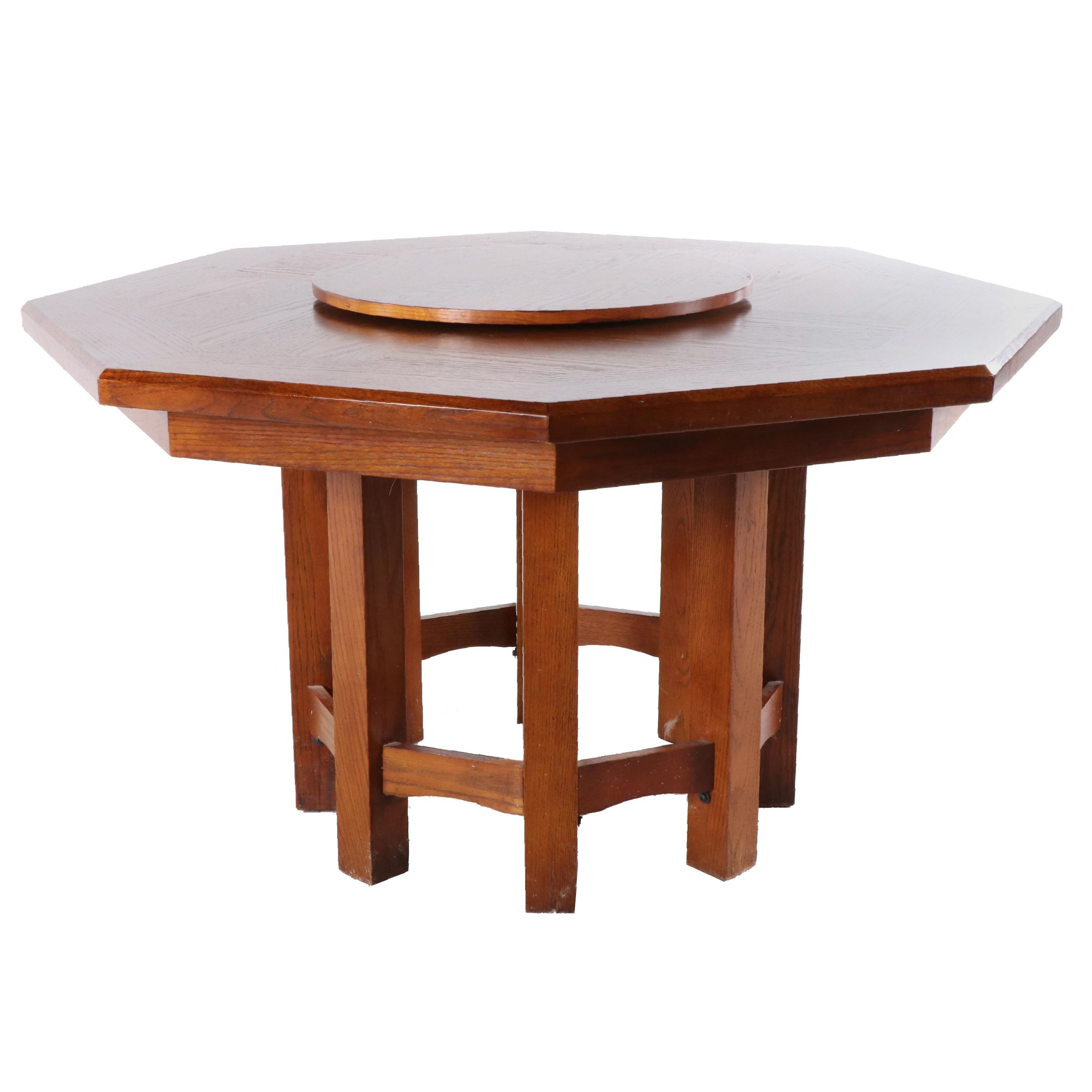 Oak Octagonal Dining Table With Lazy Susan, Late 20th Century