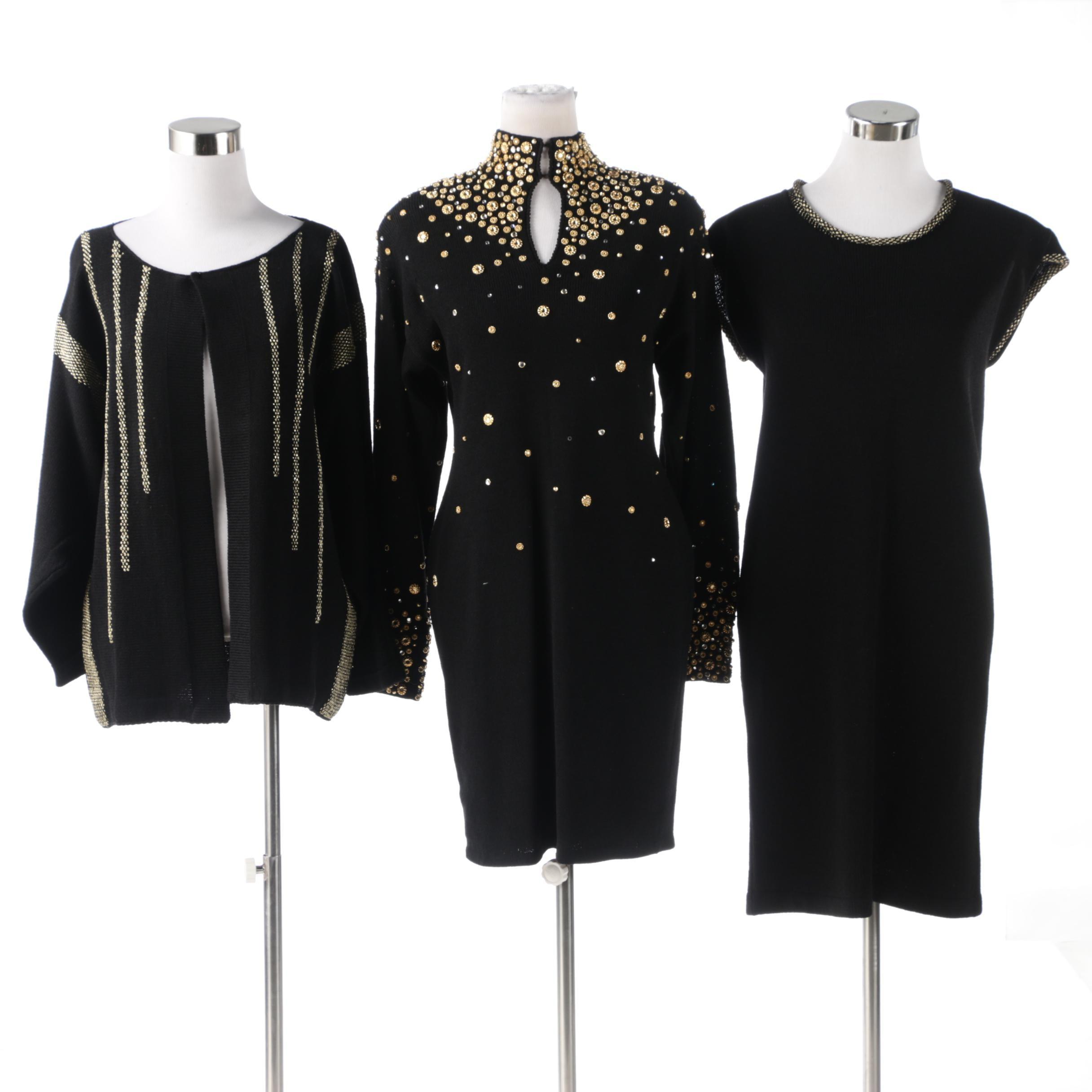 Mina and Elizabeth Black Knit Dresses with Metallic Gold and Rhinestones