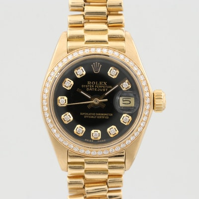 Vintage Rolex Datejust 18K Yellow Gold Wristwatch With Diamond Dial and Bezel