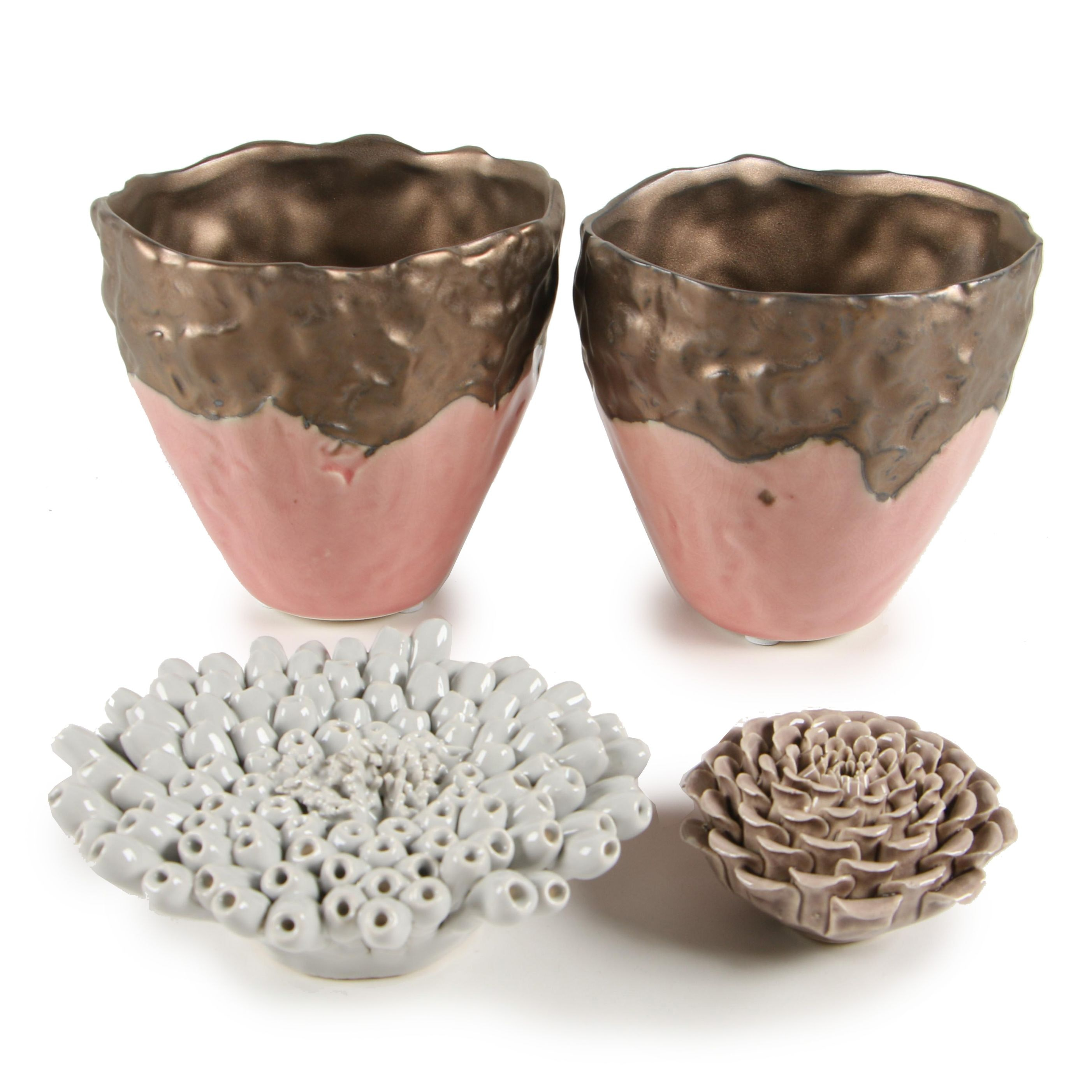 Contemporary Ceramic Vases and Flowers