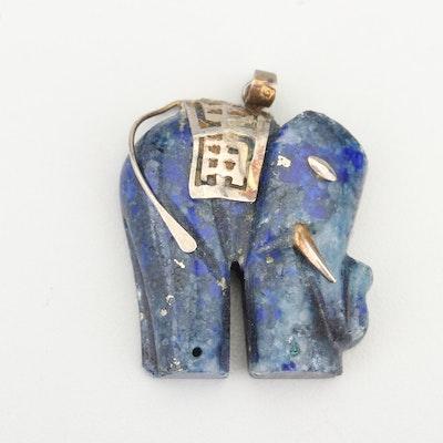 Chinese Silver Tone Lapis Lazuli Elephant Pendant