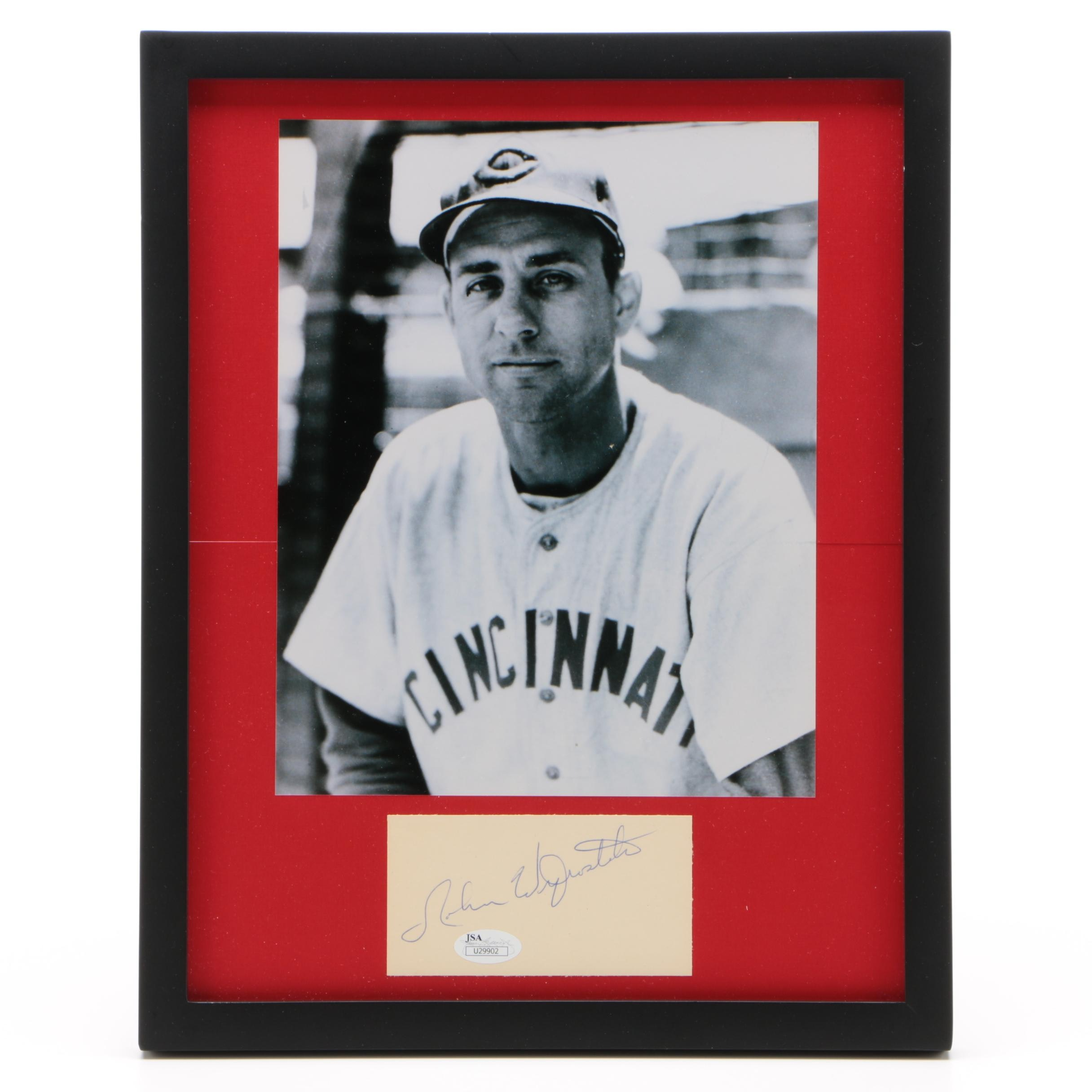 Cincinnati Reds John Wyrostek Framed Autograph and Photo JSA/COA