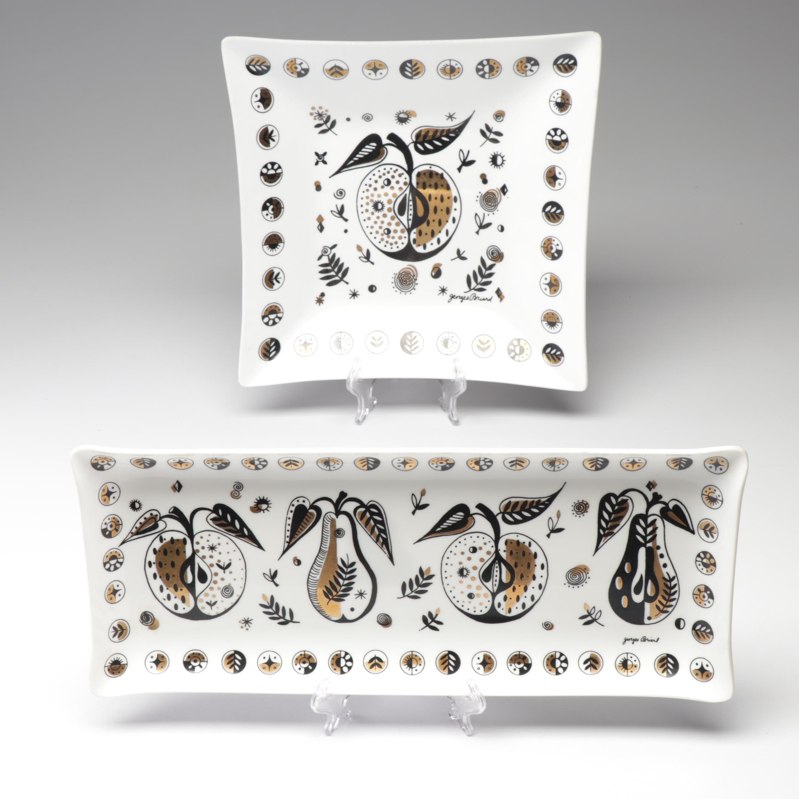 """Georges Briard """"Forbidden Fruit"""" White Glass Serveware, Mid Century Modern"""