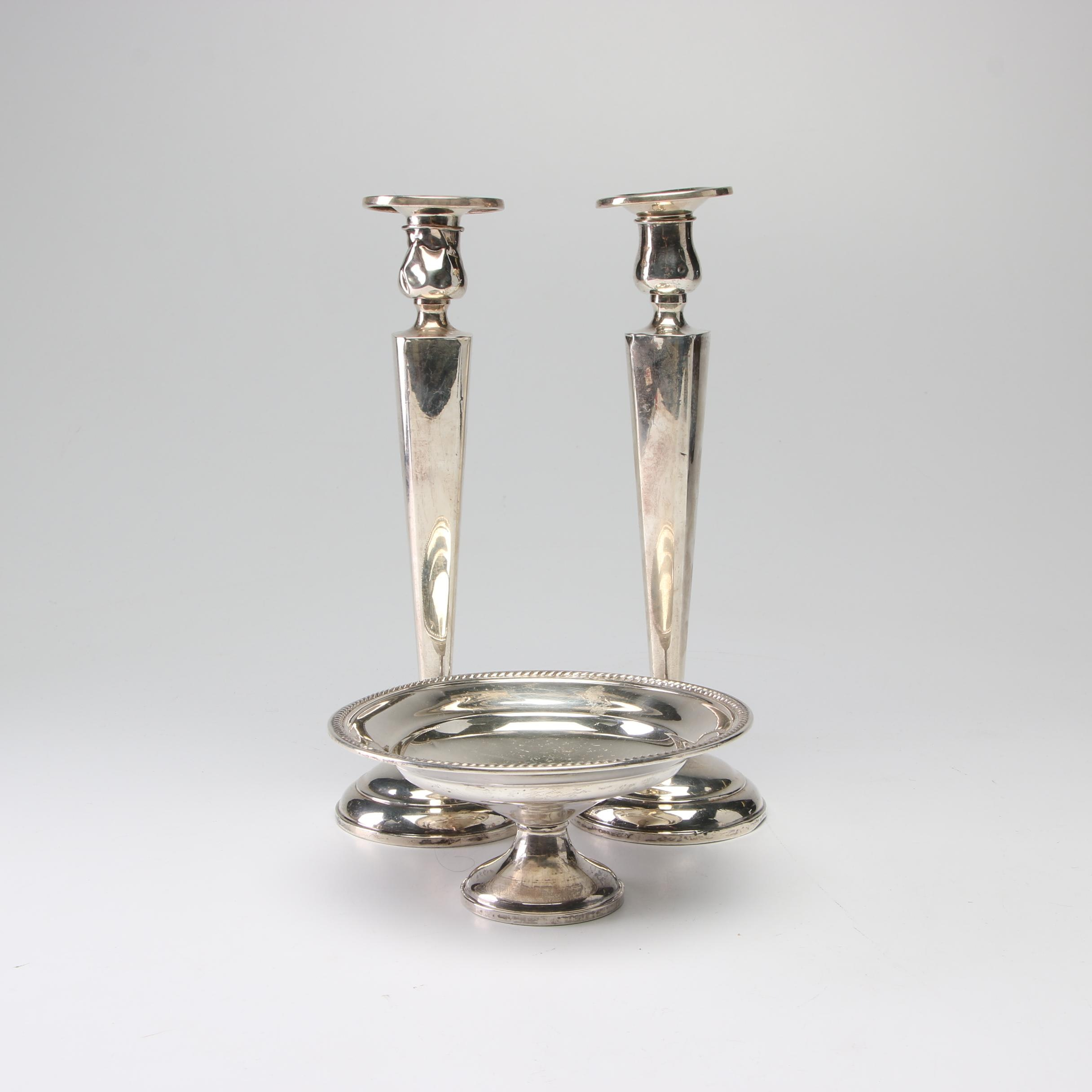 Sterling Silver Candle Holders with Tray