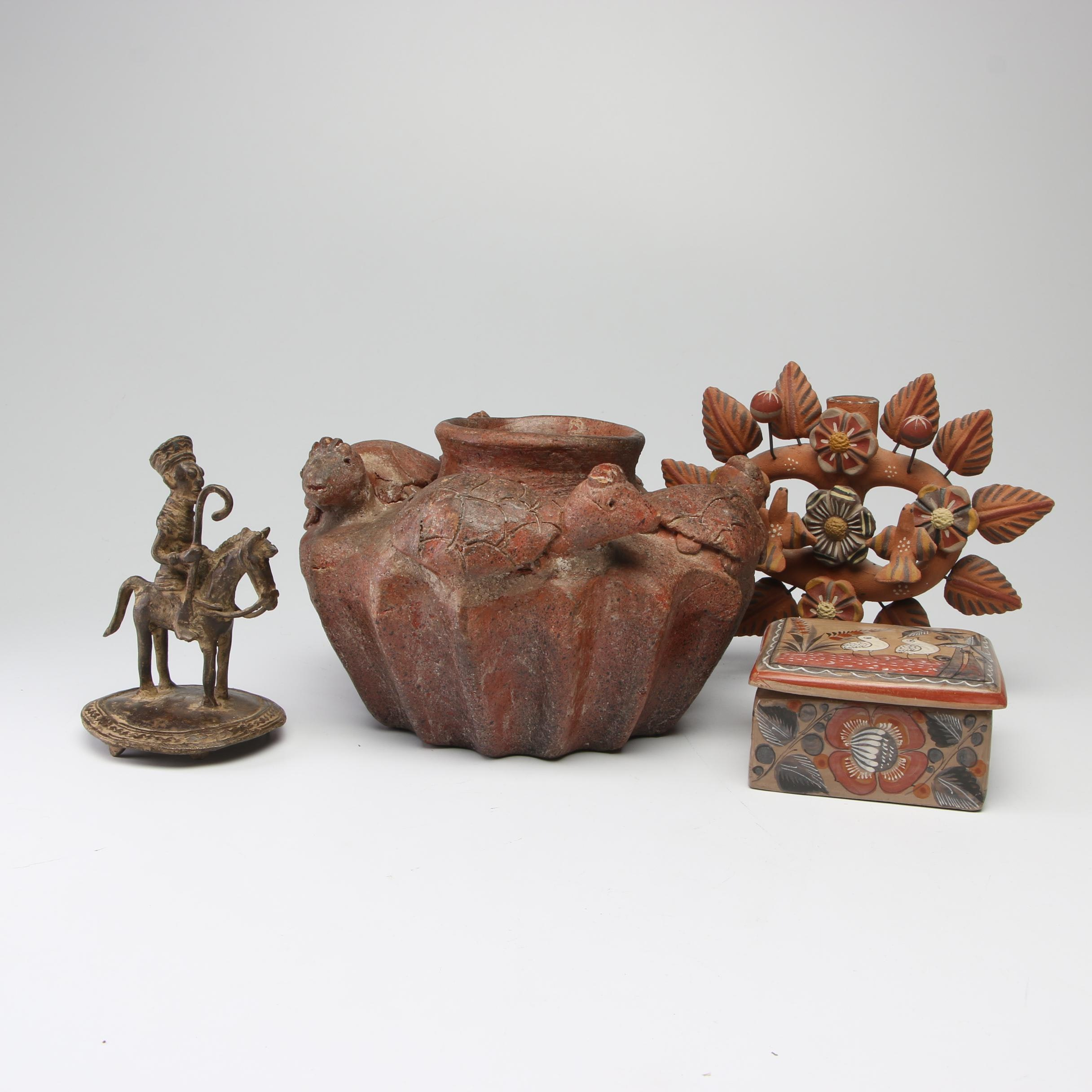 Akan Copper Alloy Equestrian Figure with Jalisco Box and Other Pottery