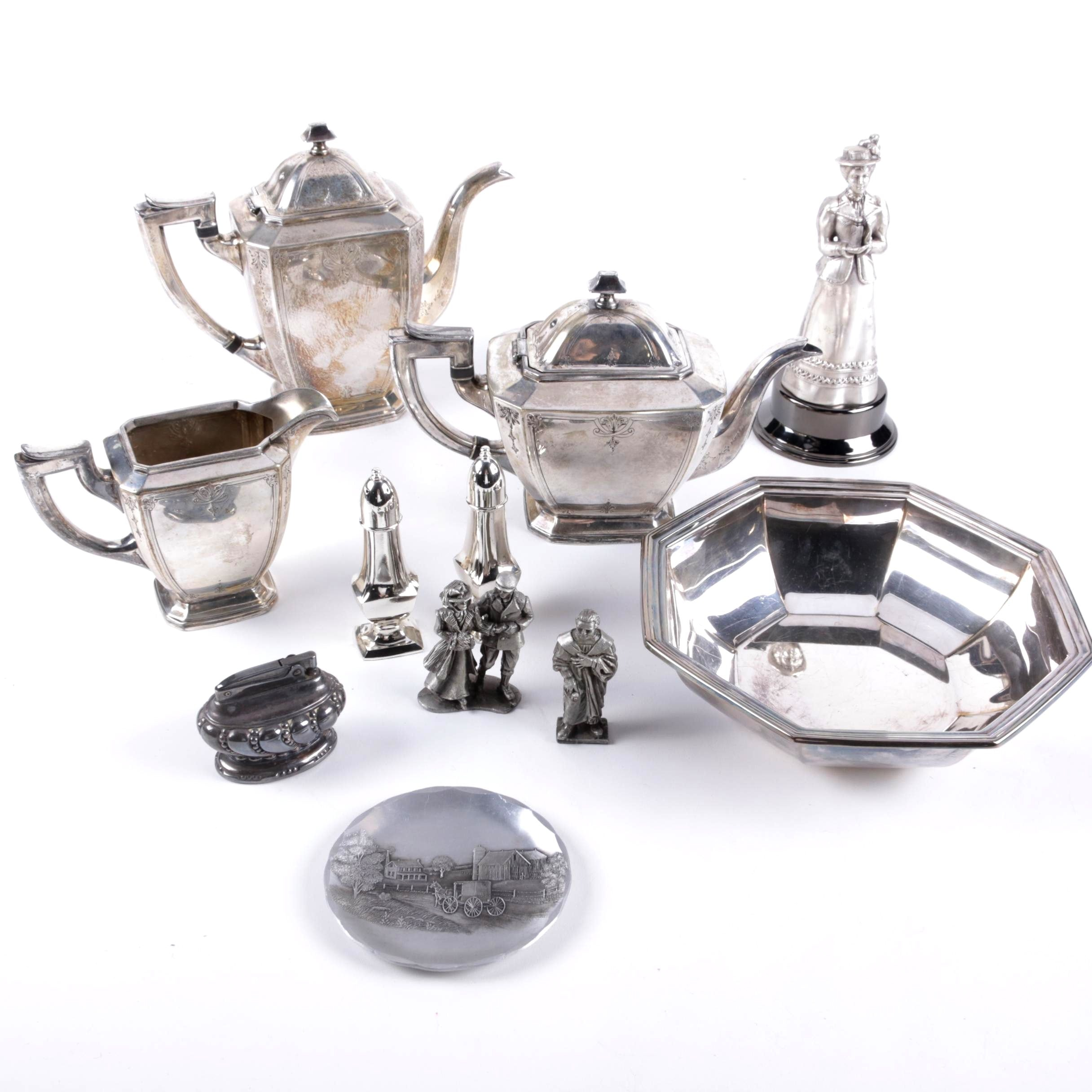 Sheffield and More Plated Silver and Pewter Tableware and Figurines