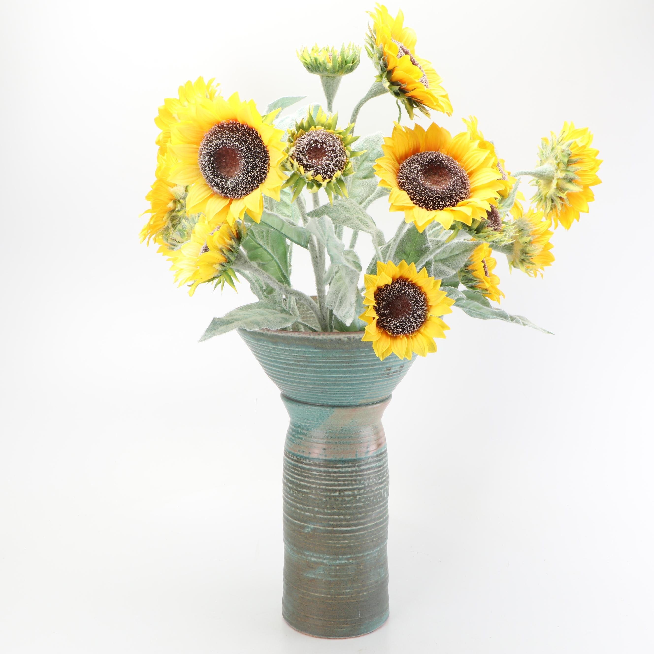 Leah Leach Thrown Stoneware Vase with Faux Sunflowers