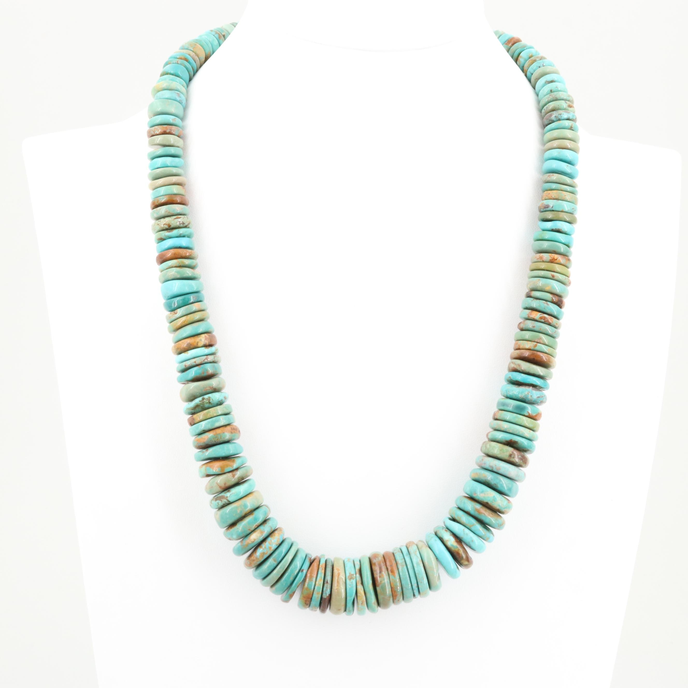 Sterling Silver Turquoise Graduating Coin Bead Necklace