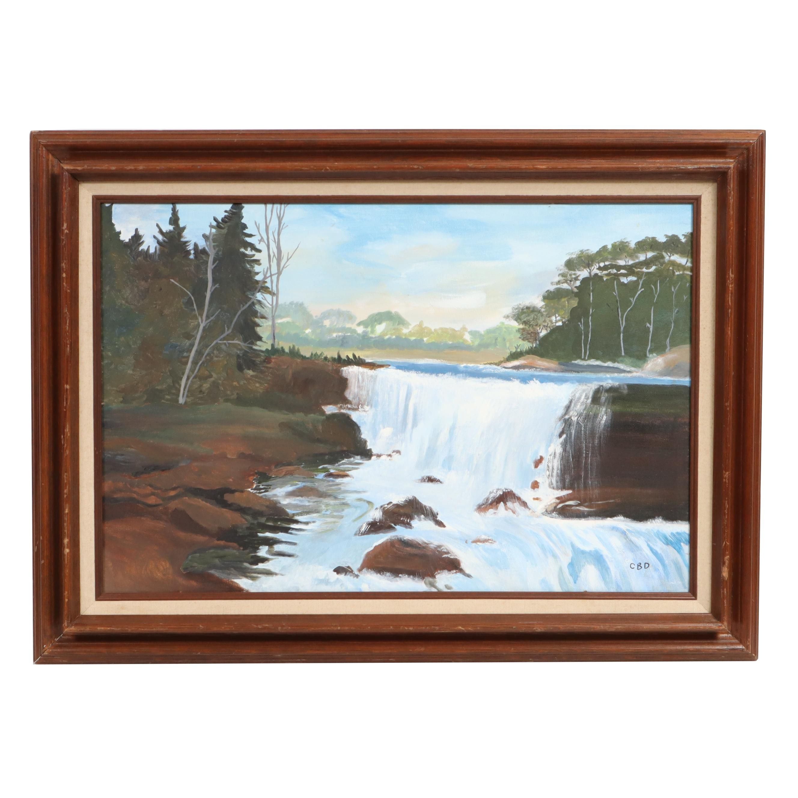 C. B. D. Waterfall Landscape Oil Painting