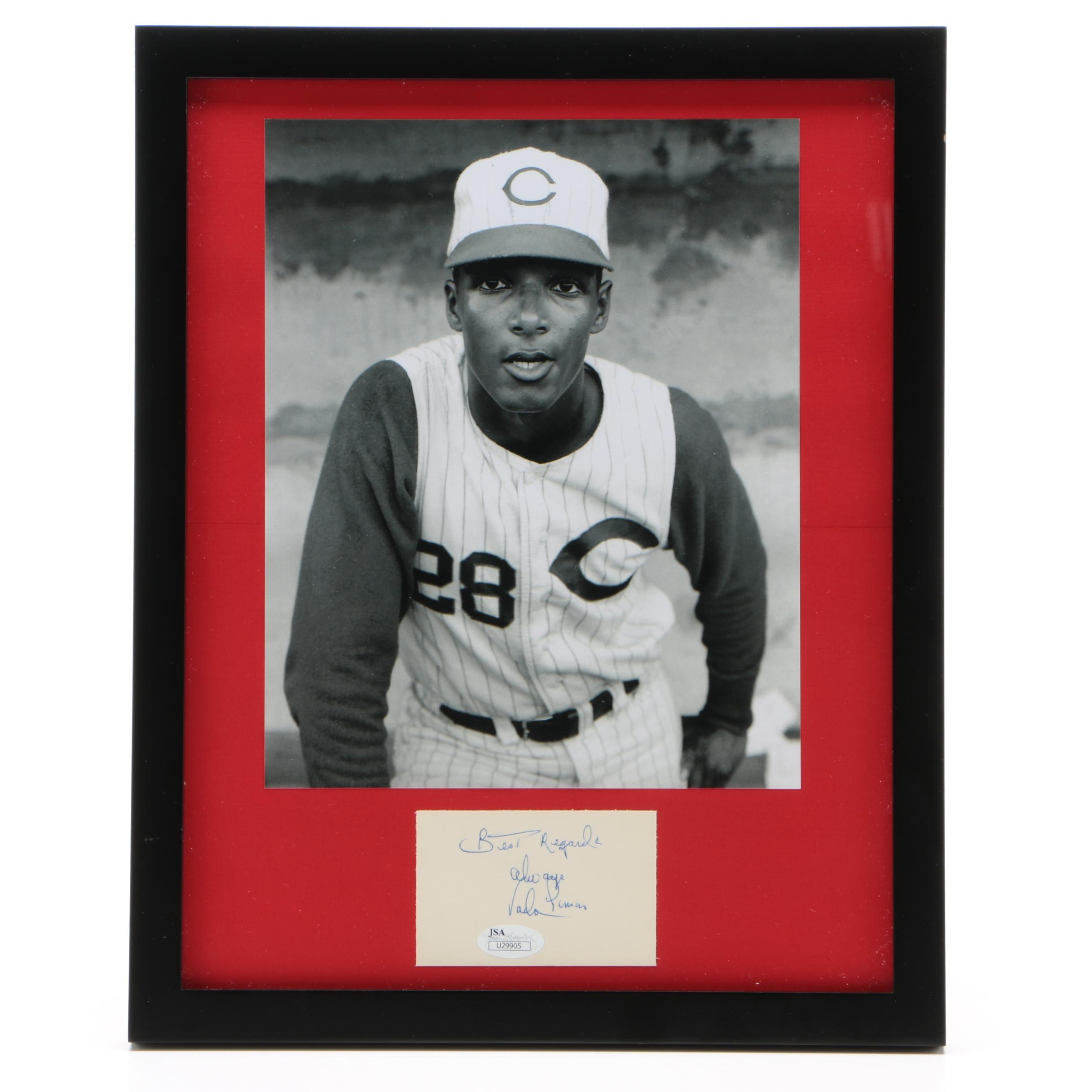 Vada Pinson of the Cincinnati Reds Framed Autograph and Photo JSA/COA