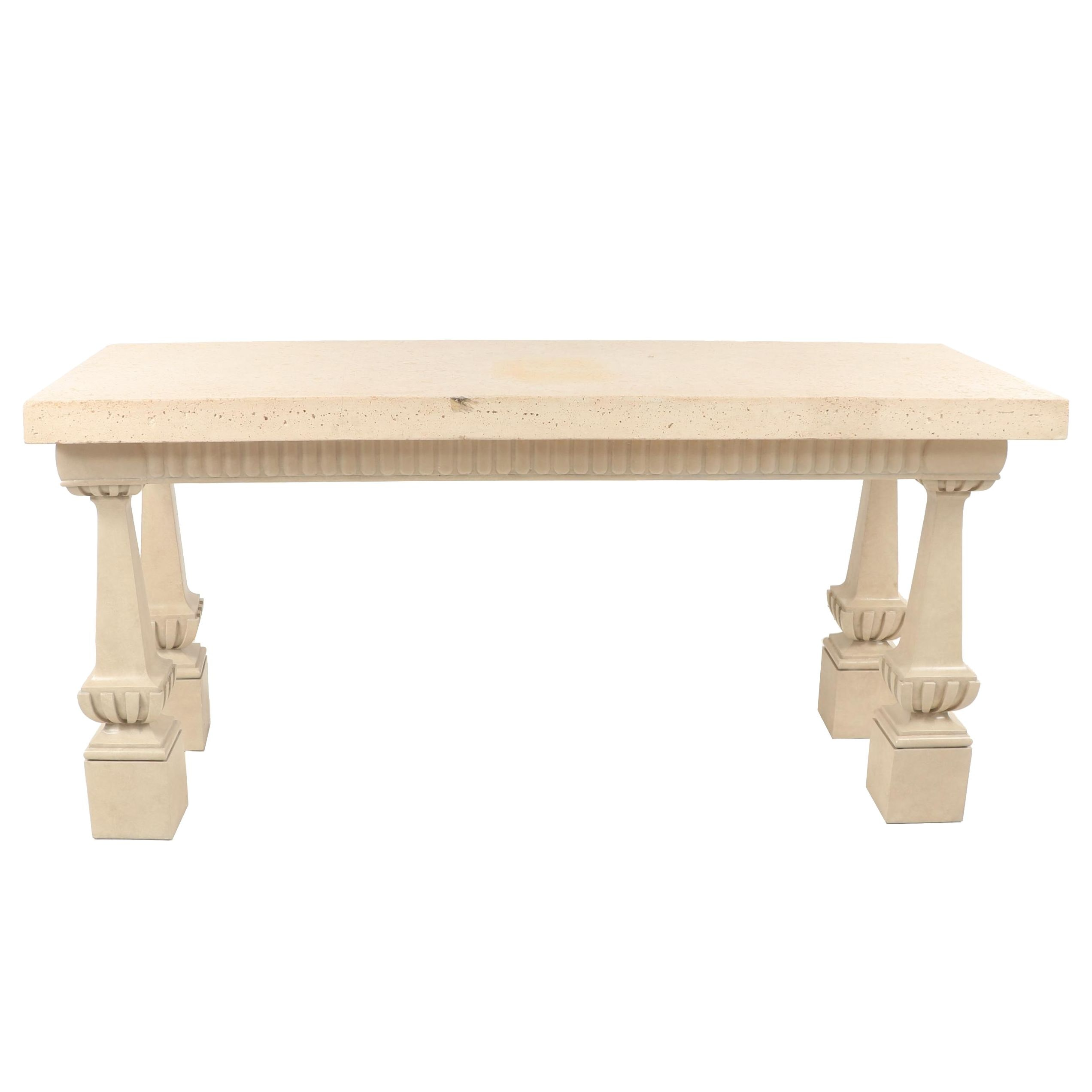 Contemporary Neoclassical Style Wooden Console Table with Concrete Top