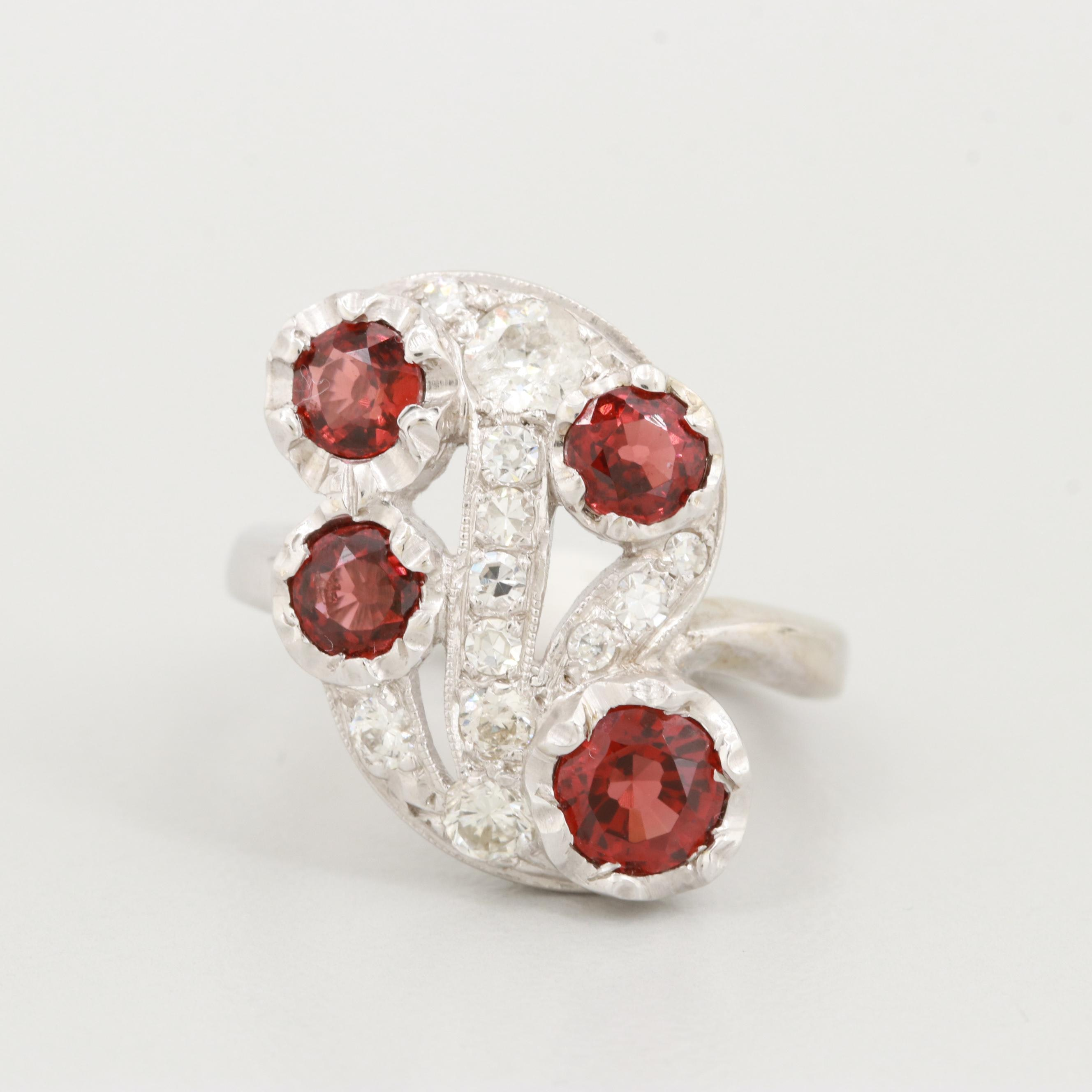 Vintage 14K White Gold Garnet and Diamond Ring
