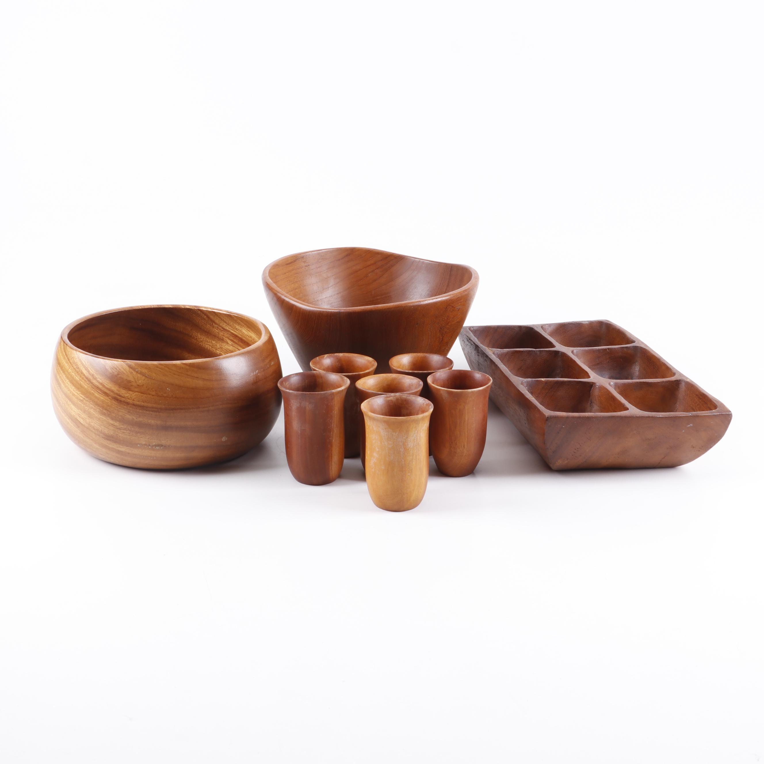 Teak Dinnerware with House of Monkeypod Wood Bowl
