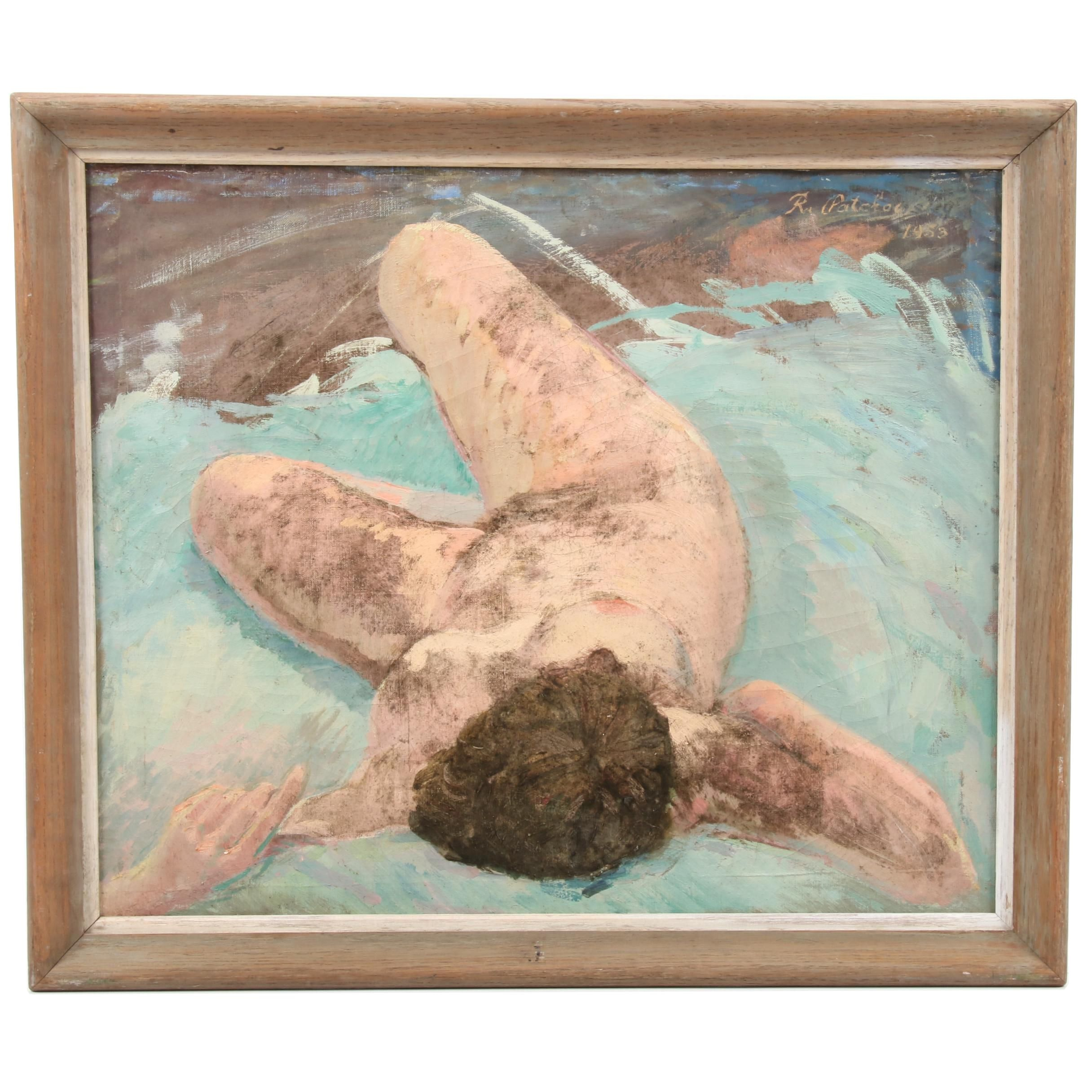 Mid 20th Century Oil Painting of Reclining Female Nude