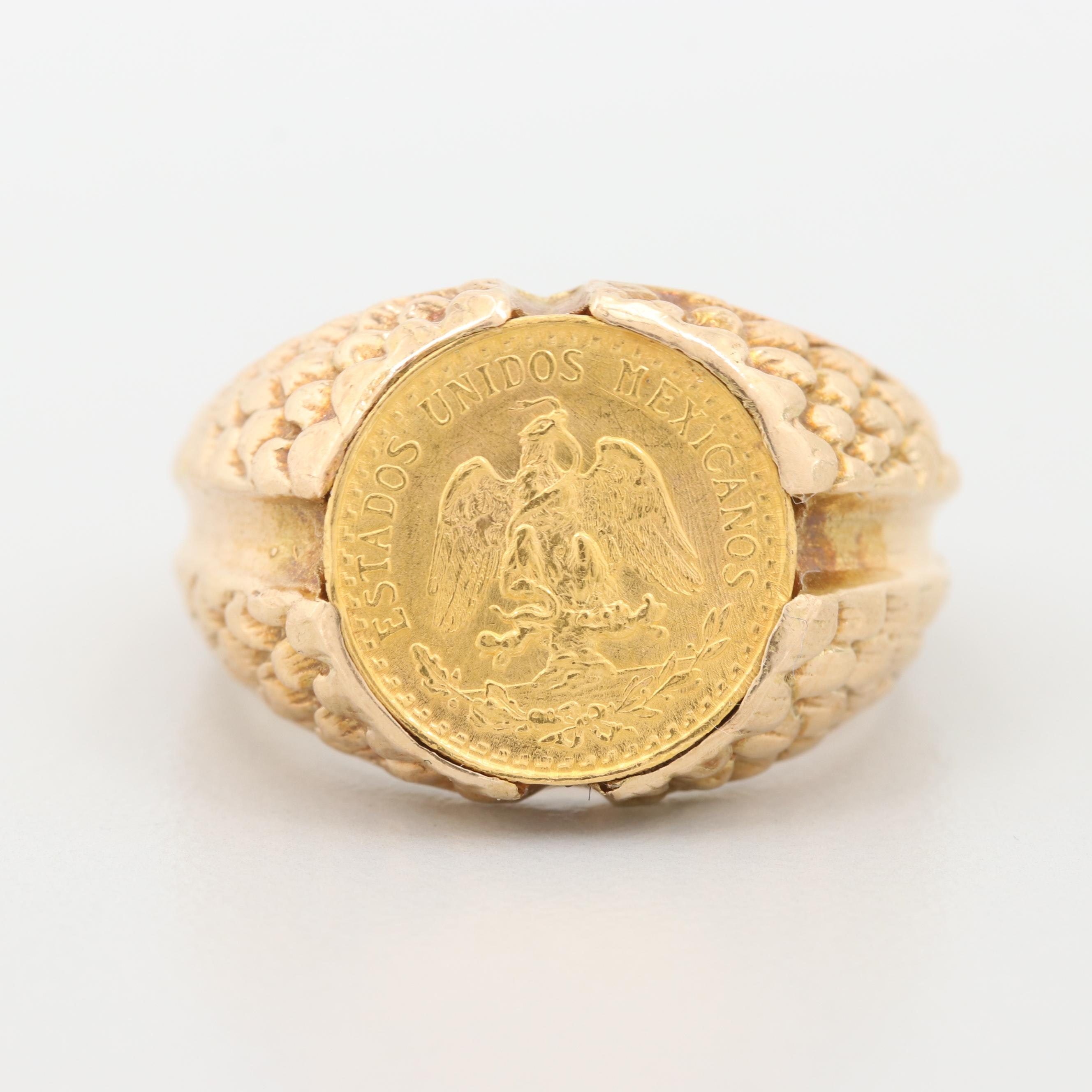 14K Yellow Gold Ring with 1945 Mexican 2-Peso Gold Coin