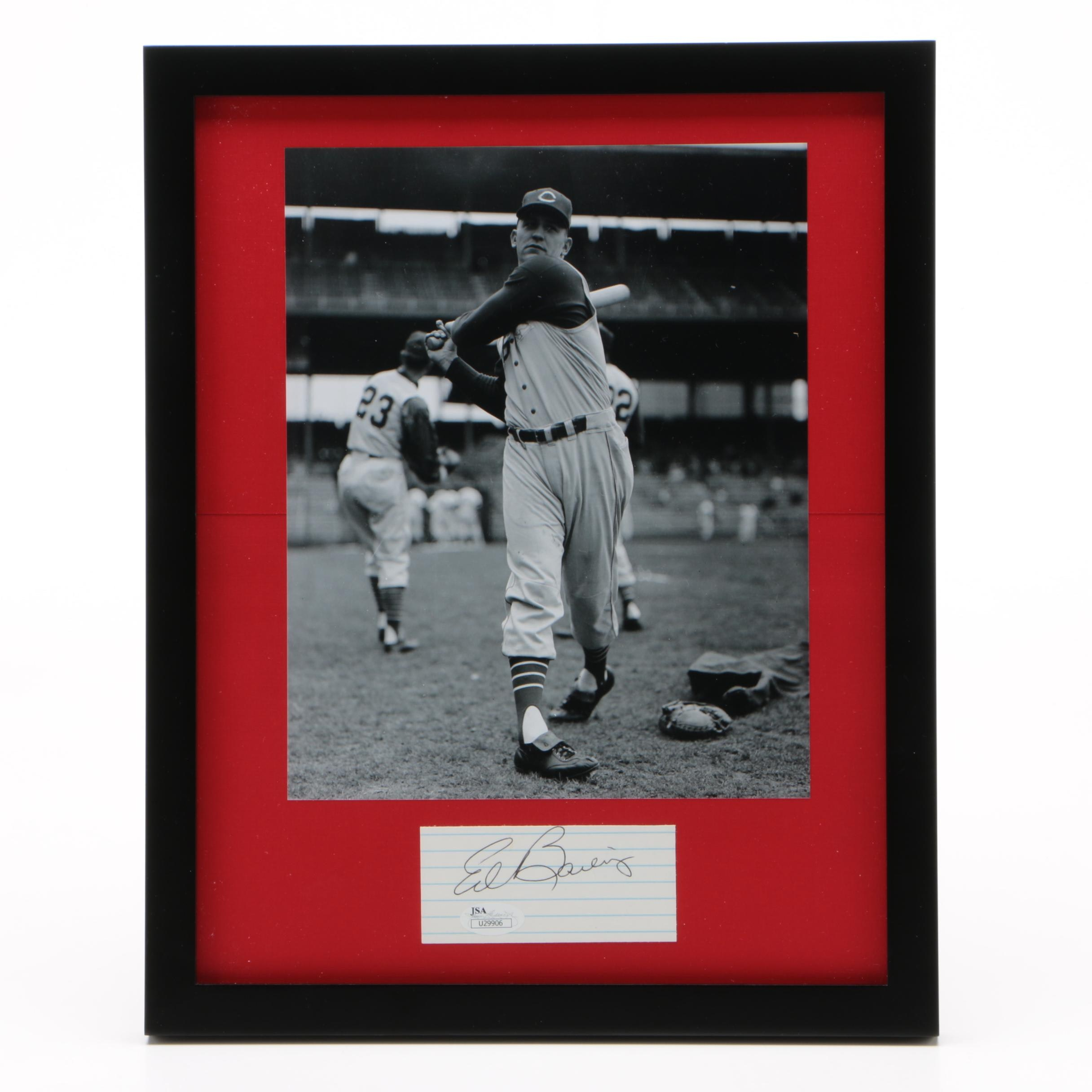 Ed Bailey of the Cincinnati Reds Framed Autograph and Photo JSA/COA