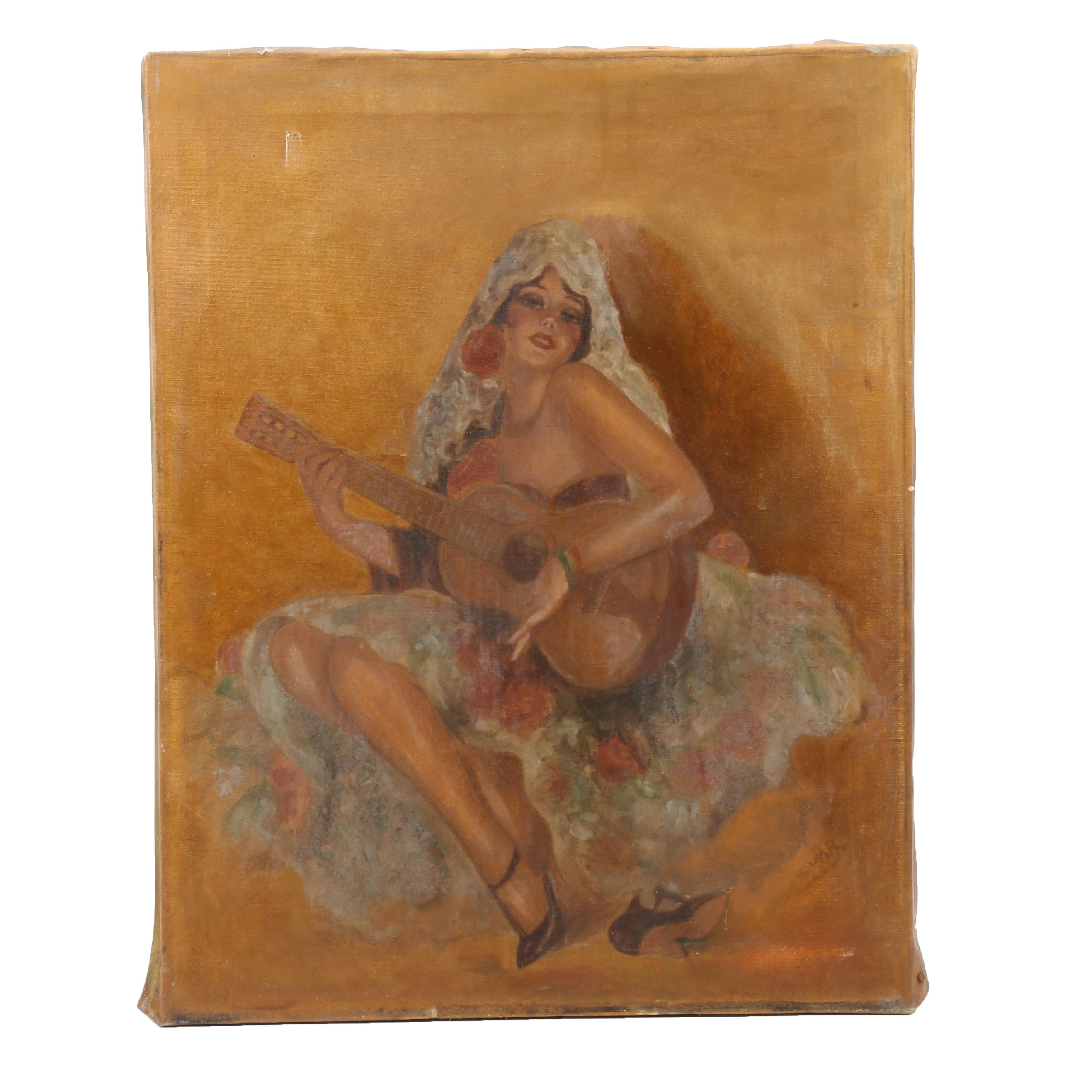 Oil Painting of Woman Playing Guitar