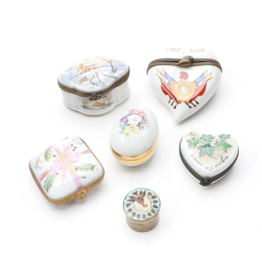 Limoges Porcelain Trinket Boxes Including Commemoration of the French Revolution