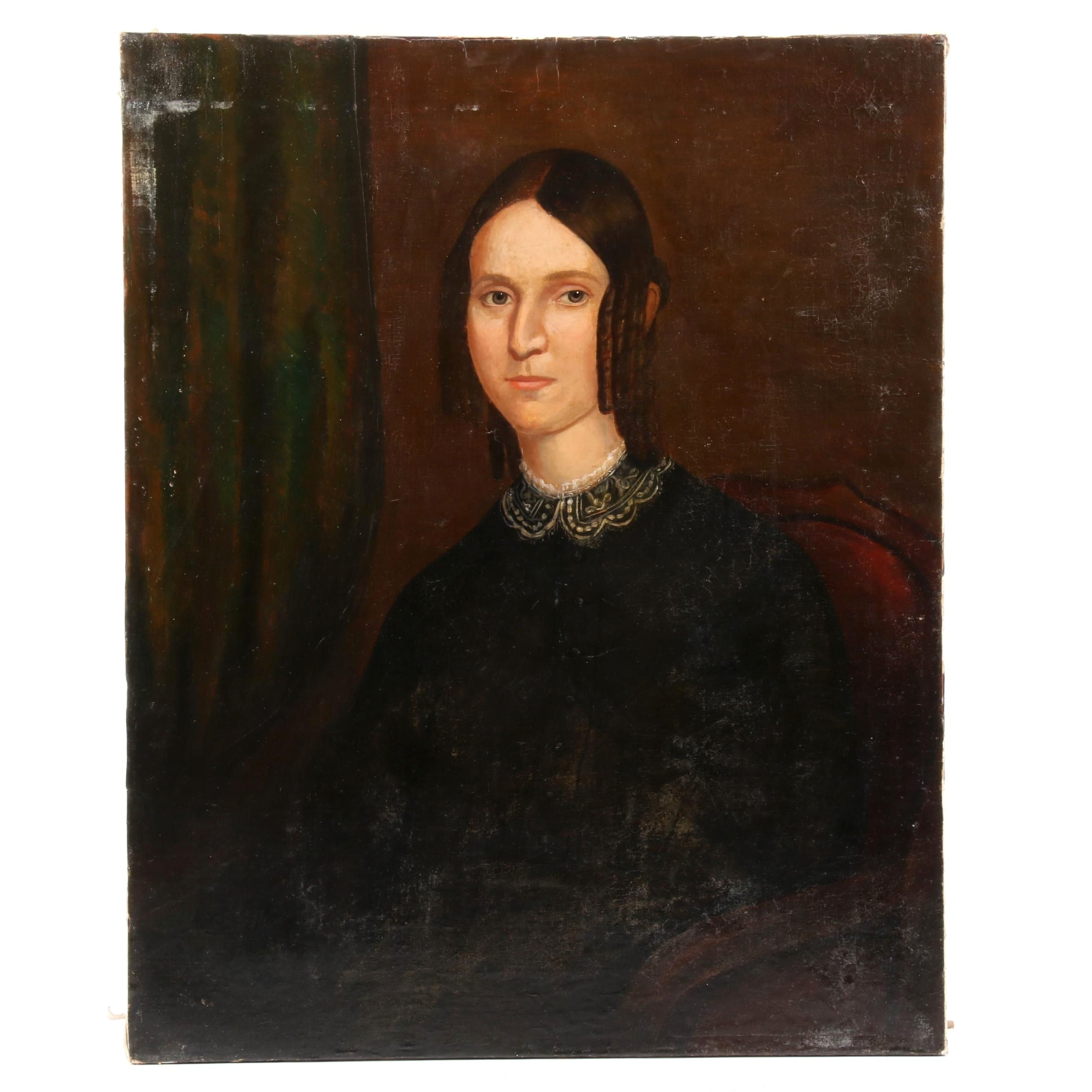 American School Portrait Painting of Woman in Black