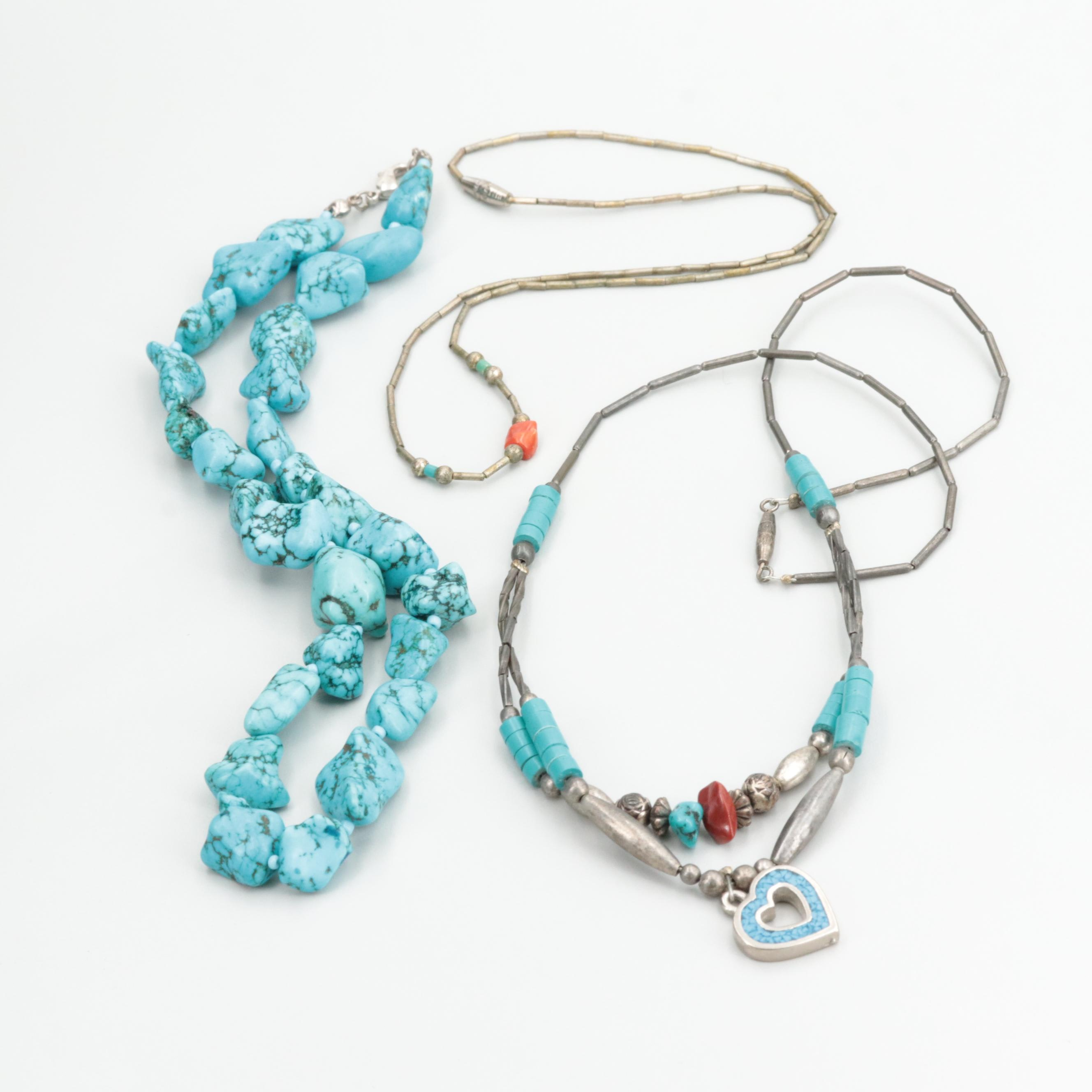 Southwestern Silver Tone Necklaces with Coral, Turquoise and Howlite