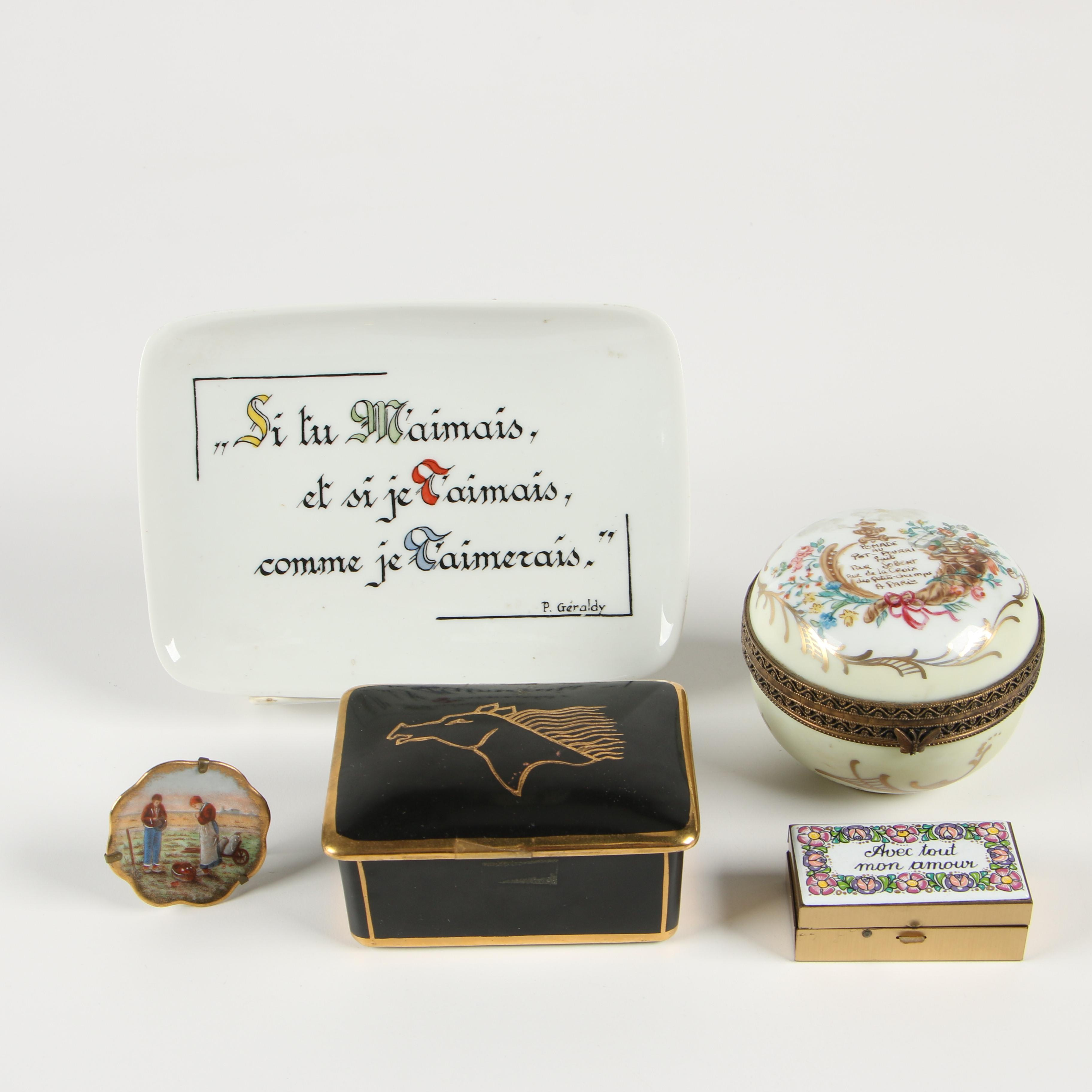Limoges Porcelain Trinket Boxes, Tray, and More