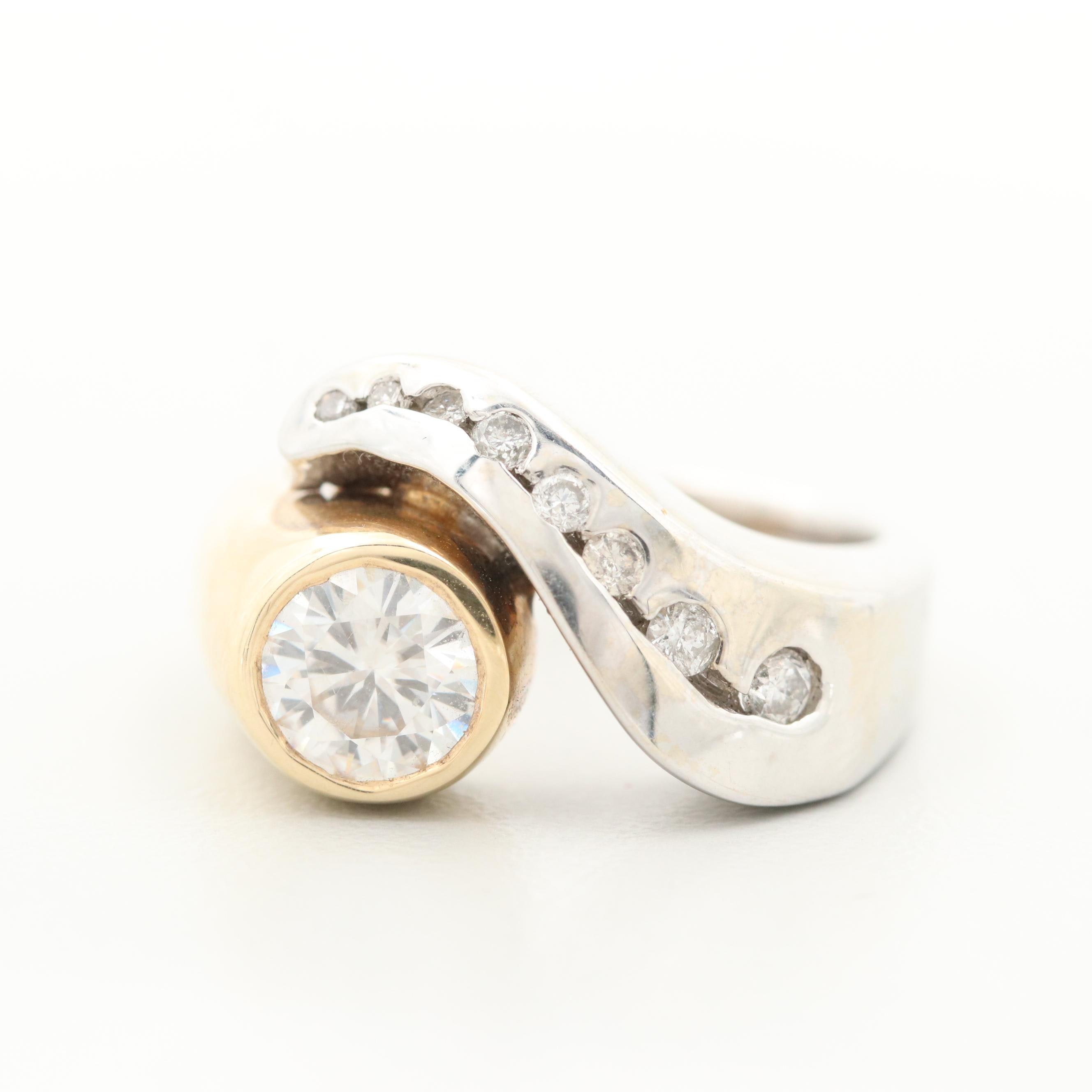 14K White and Yellow Gold Moissanite and Diamond Ring