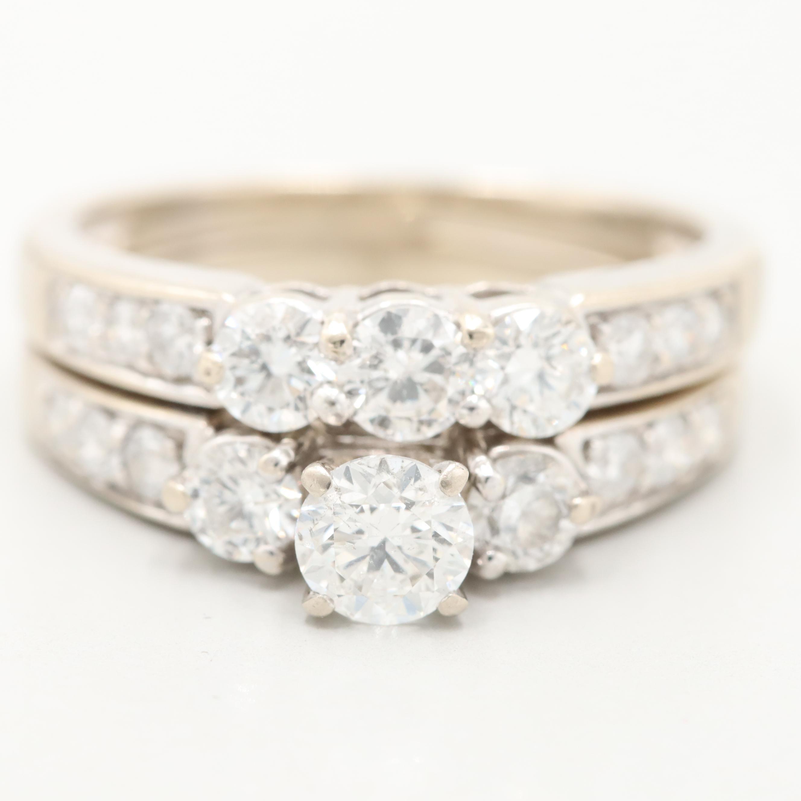 14K White Gold 1.59 CTW Diamond Ring
