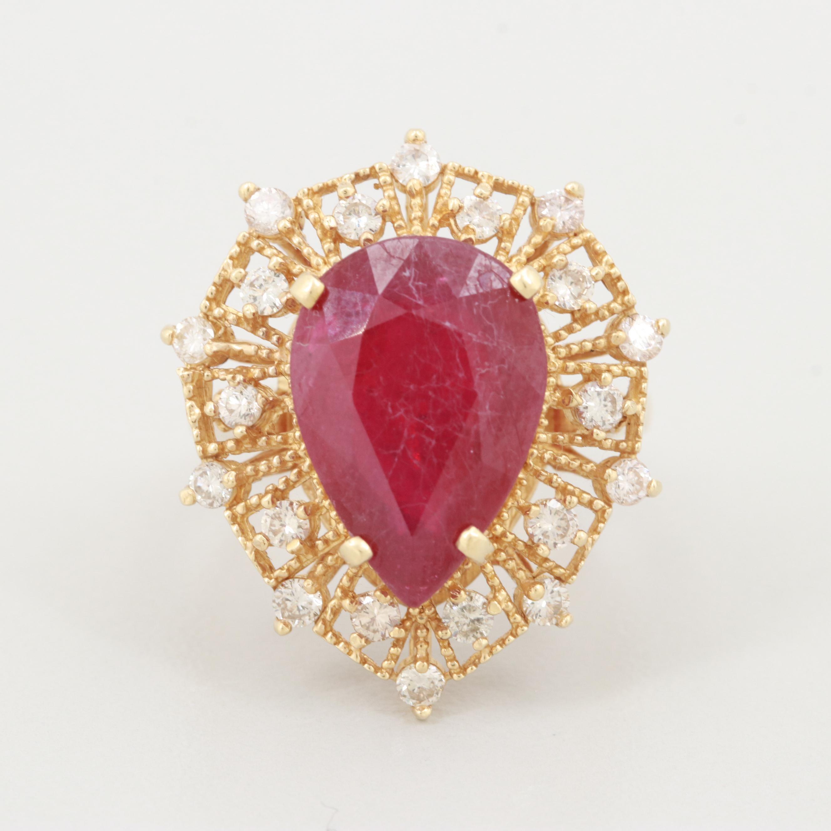 14K Yellow Gold Glass Filled Corundum and Diamond Ring