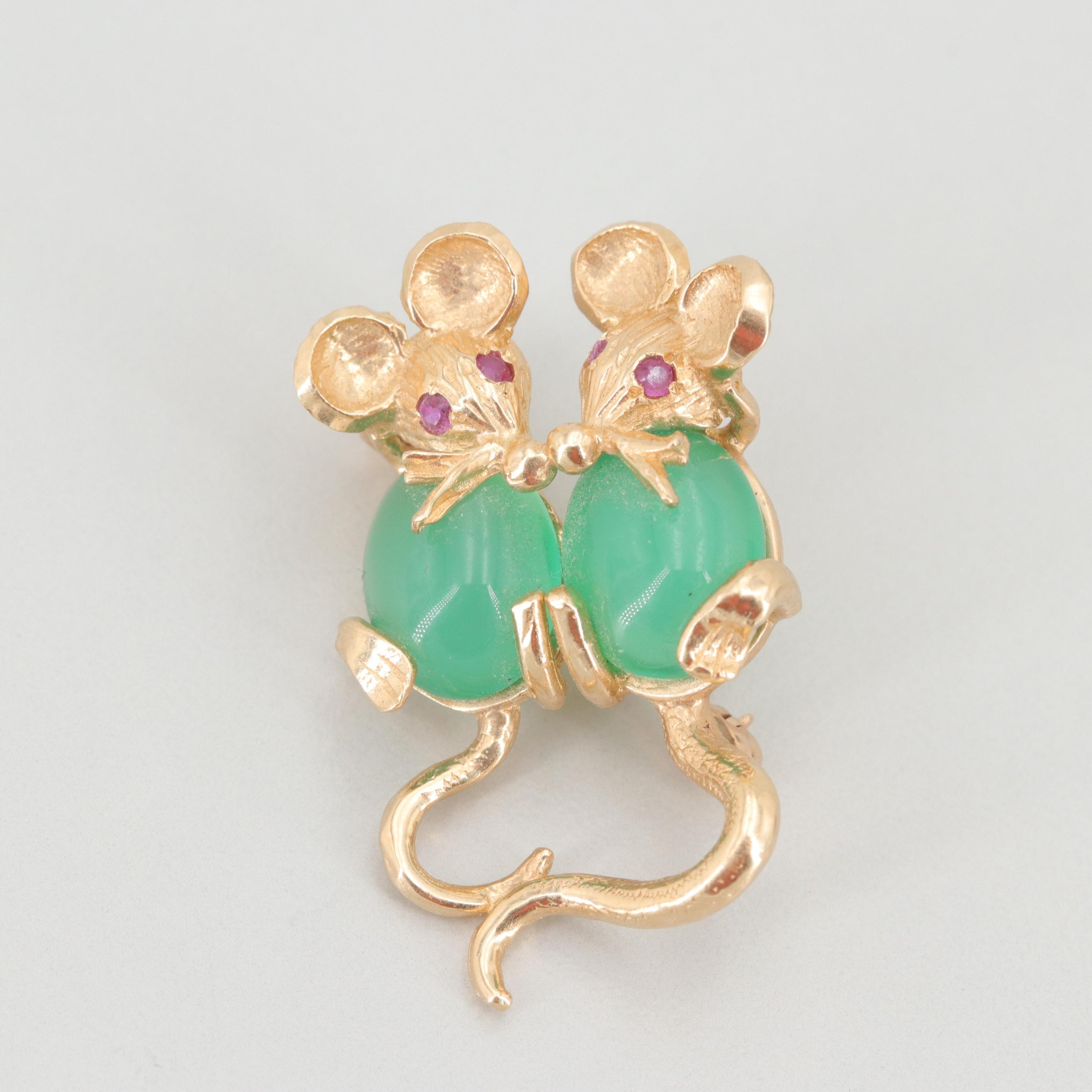 14K Yellow Gold Chalcedony and Ruby Mice Brooch