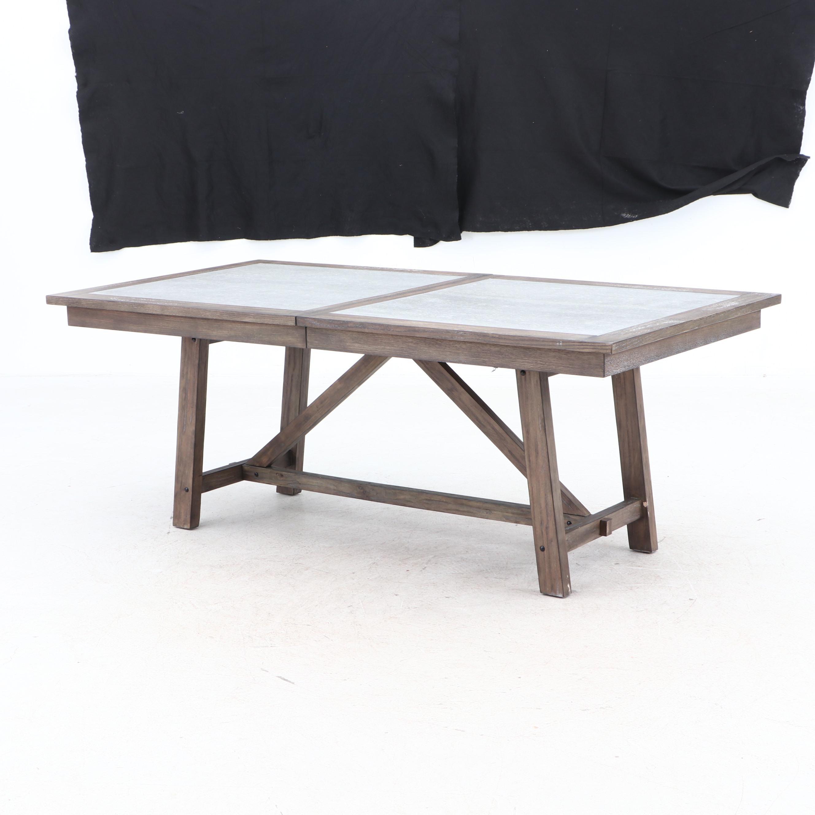 Contemporary Oak with Laminate Insert Top Trestle Dining Table